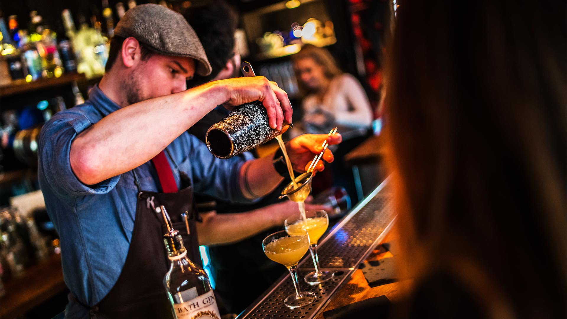 Pouring cocktails at Bath Gin's Canary Gin Bar
