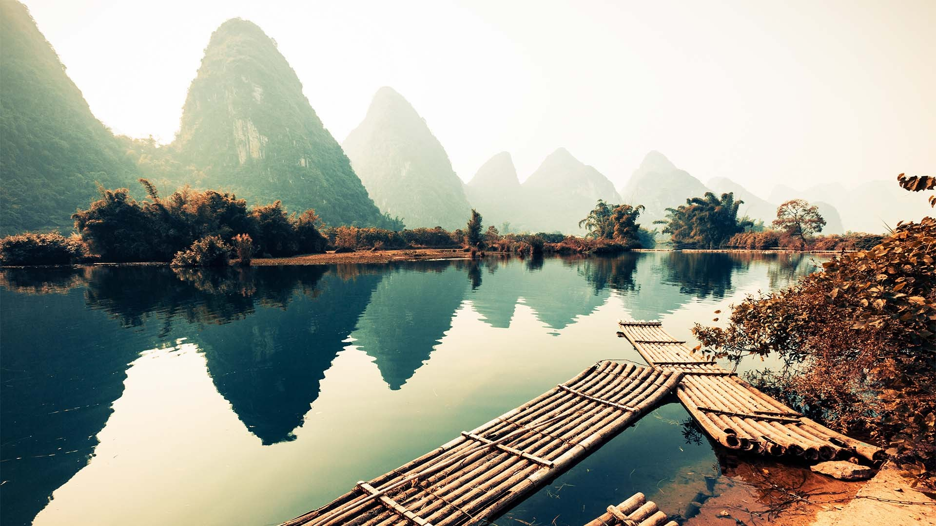 Karst bamboo boat on a river, Yangshuo