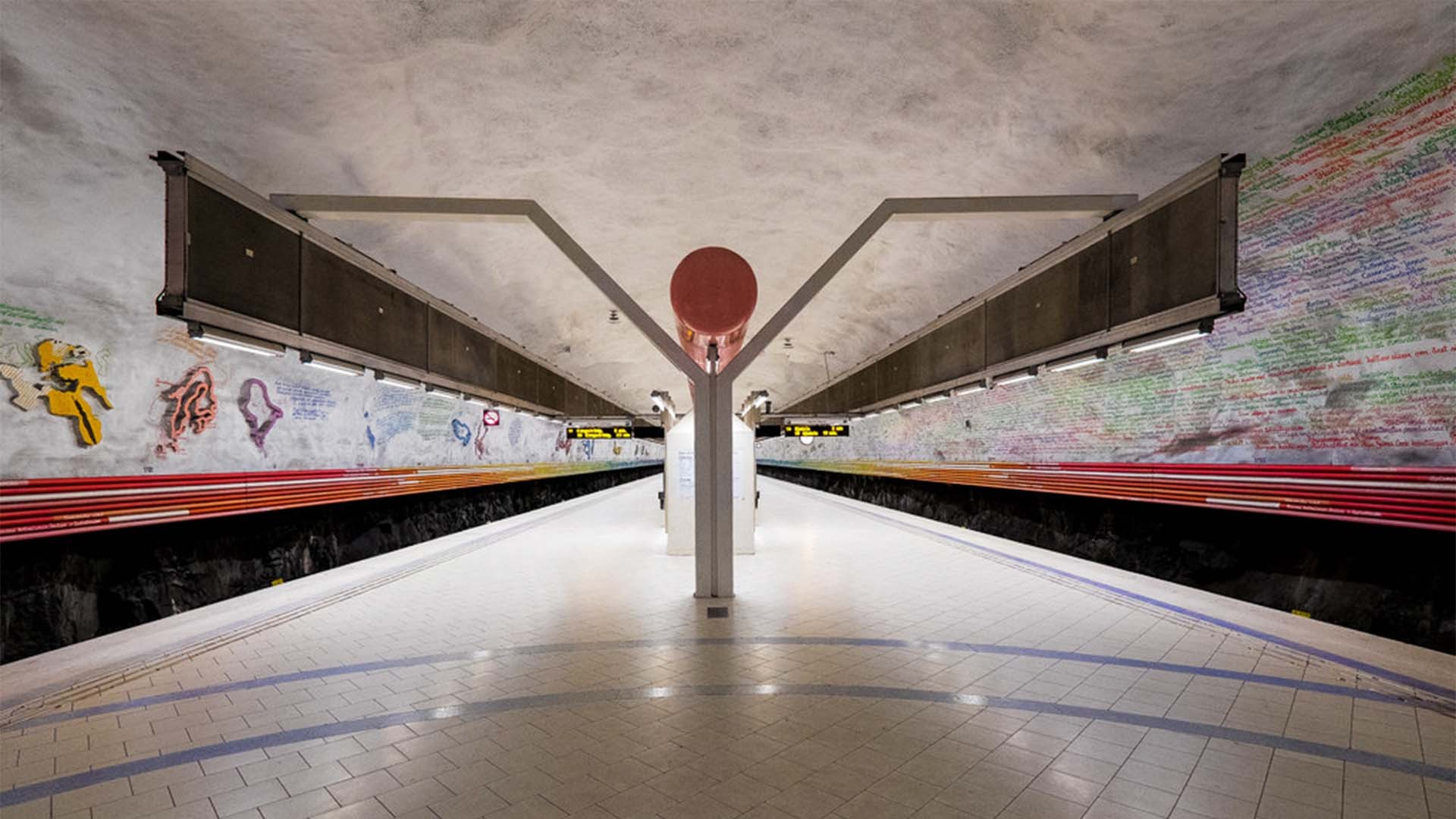 Wall murals at Rissne metro station, Stockholm