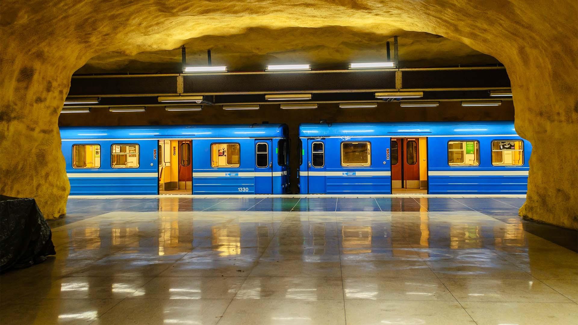 Yellow metro art at Akalla station, Stockholm