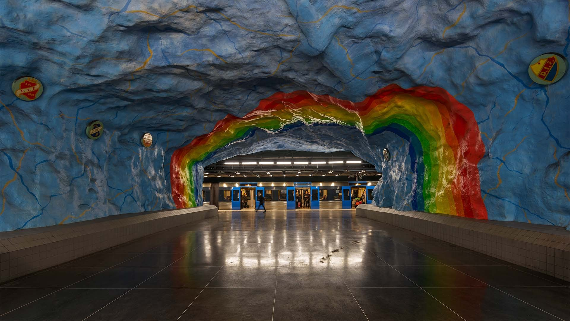 Rainbow painting at Stadion station, Stockholm metro