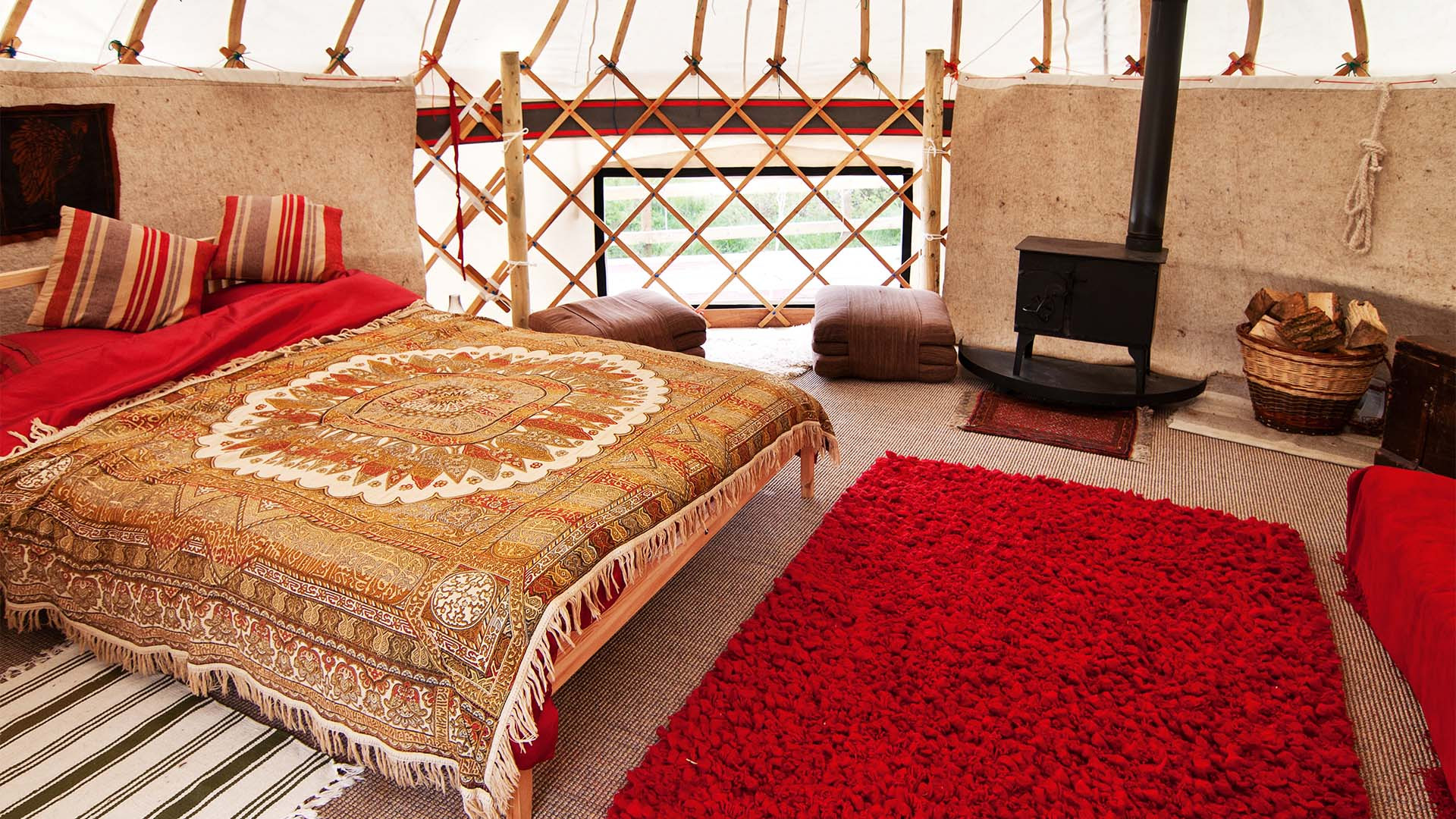 Master bedroom at Trossachs Yurts, Stirling