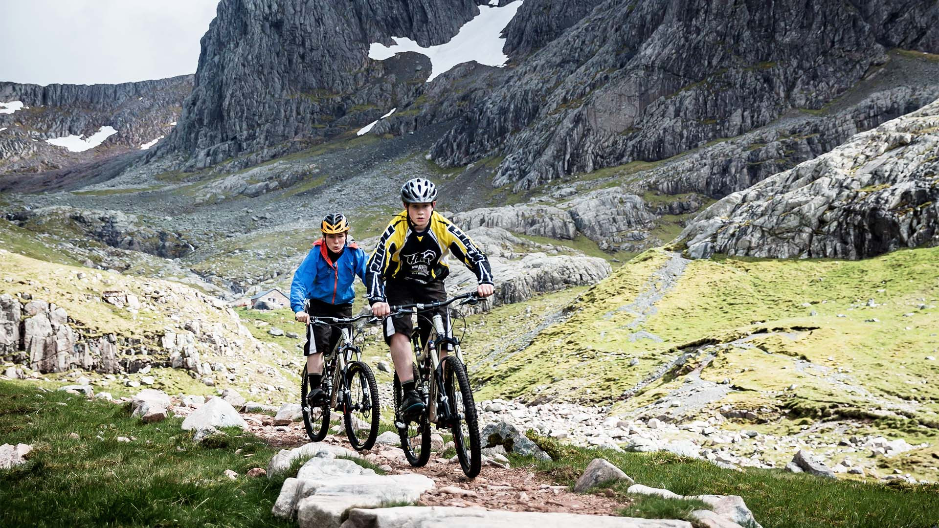 Mountain bikers at Ben Nevis, Scotland