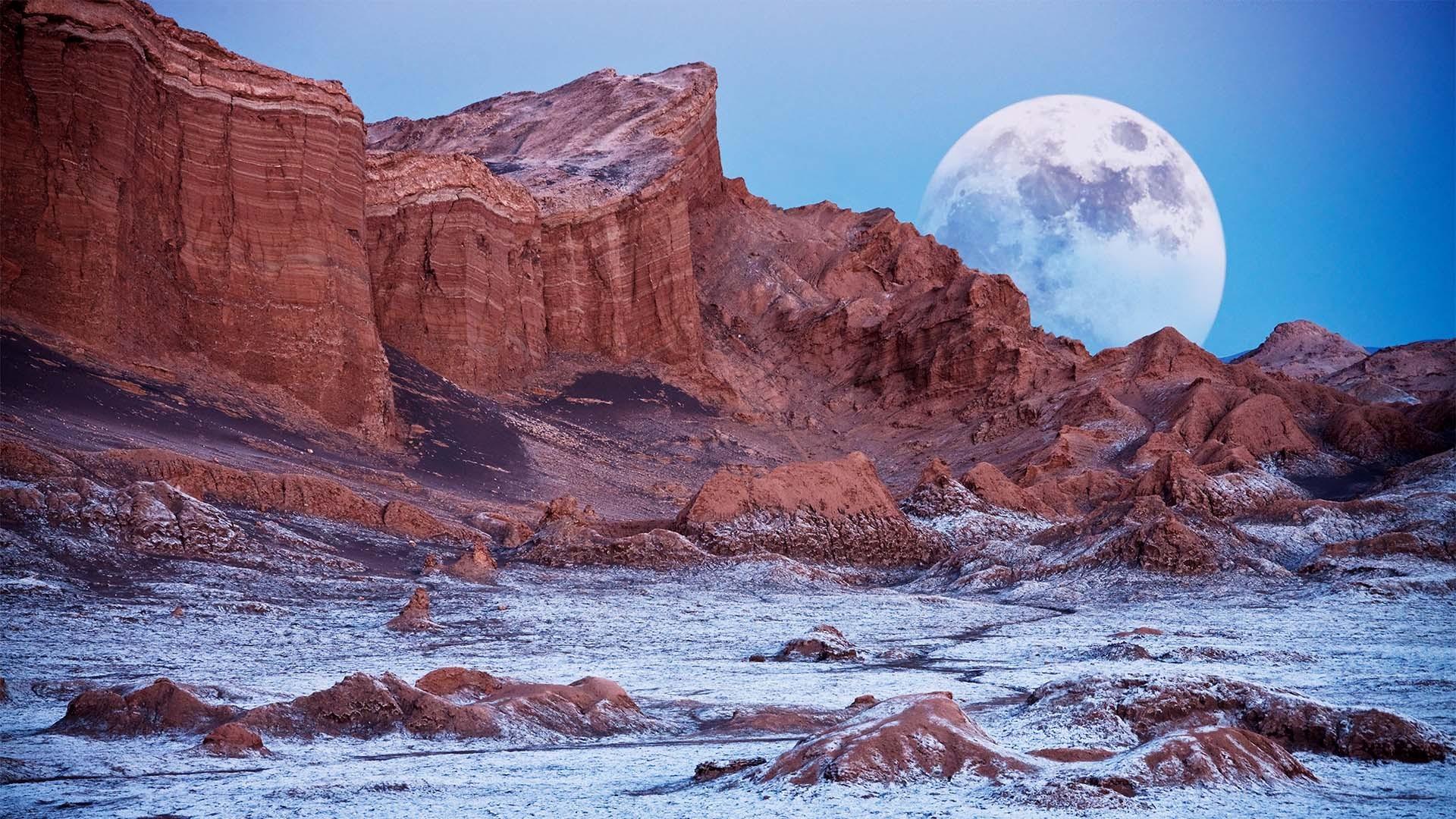 Supermoon in the Atacama Desert, Chile