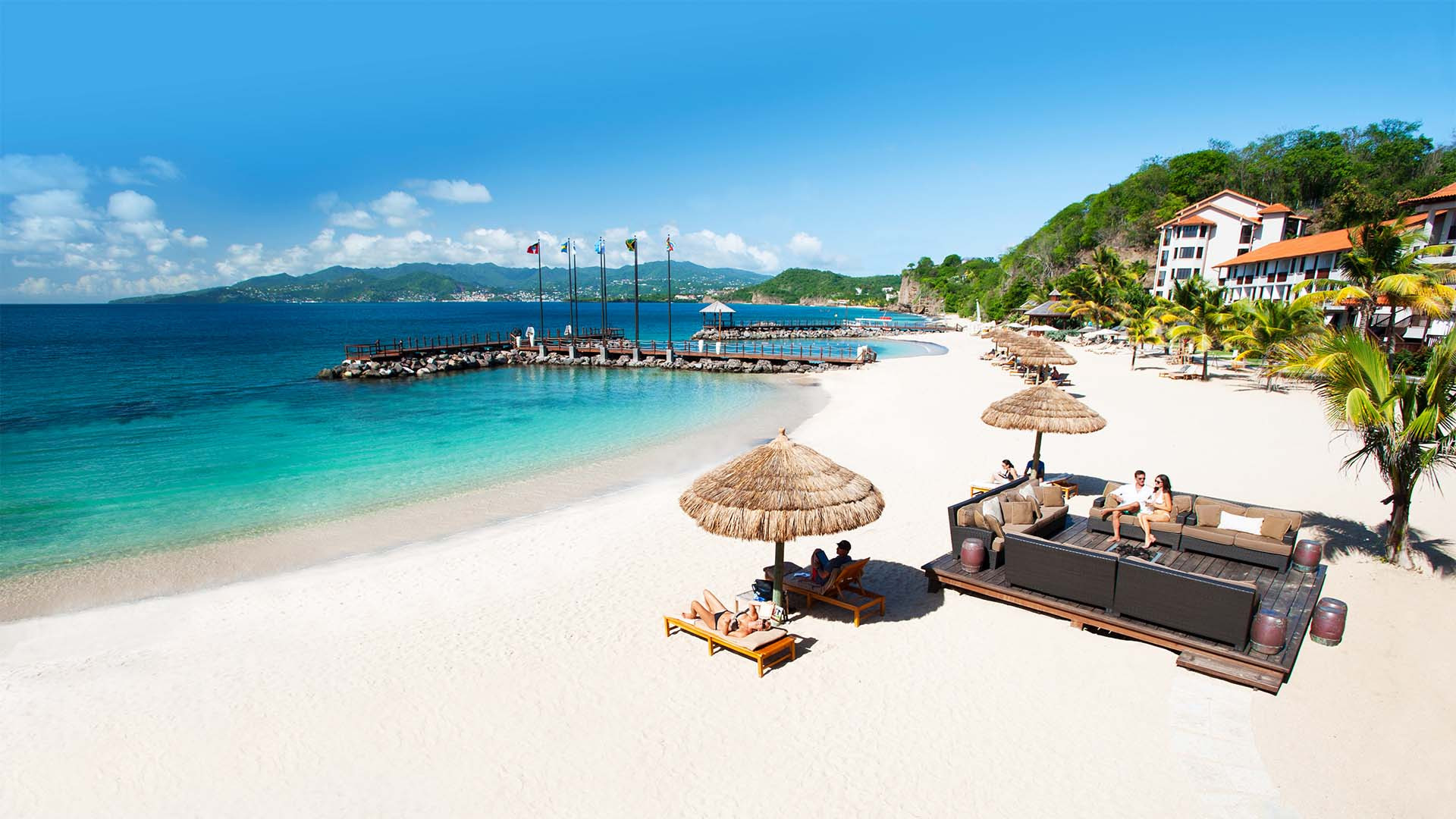 Beach at Sandals resort in the Caribbean