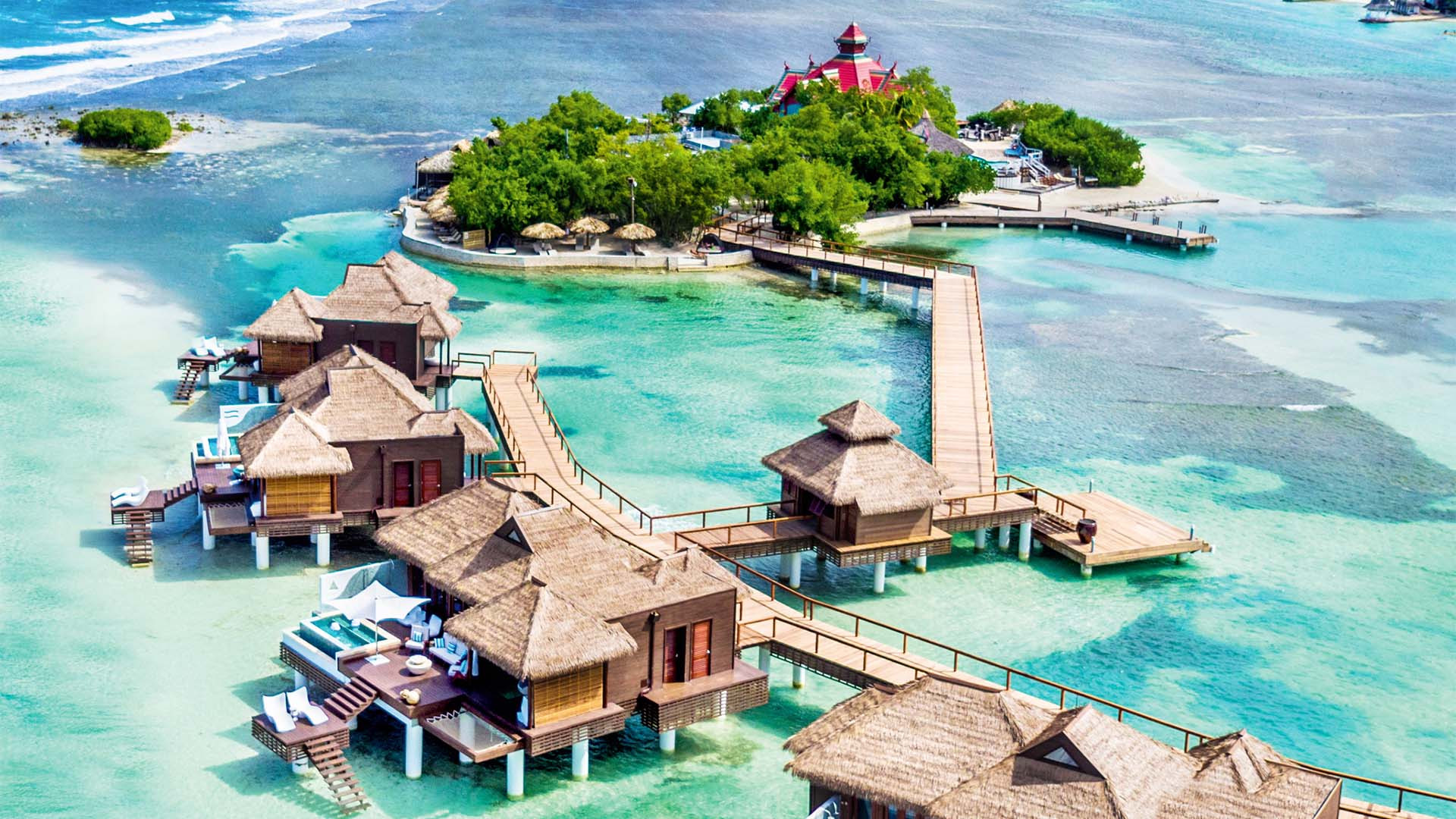 Aerial view of over the water villas at Sandals