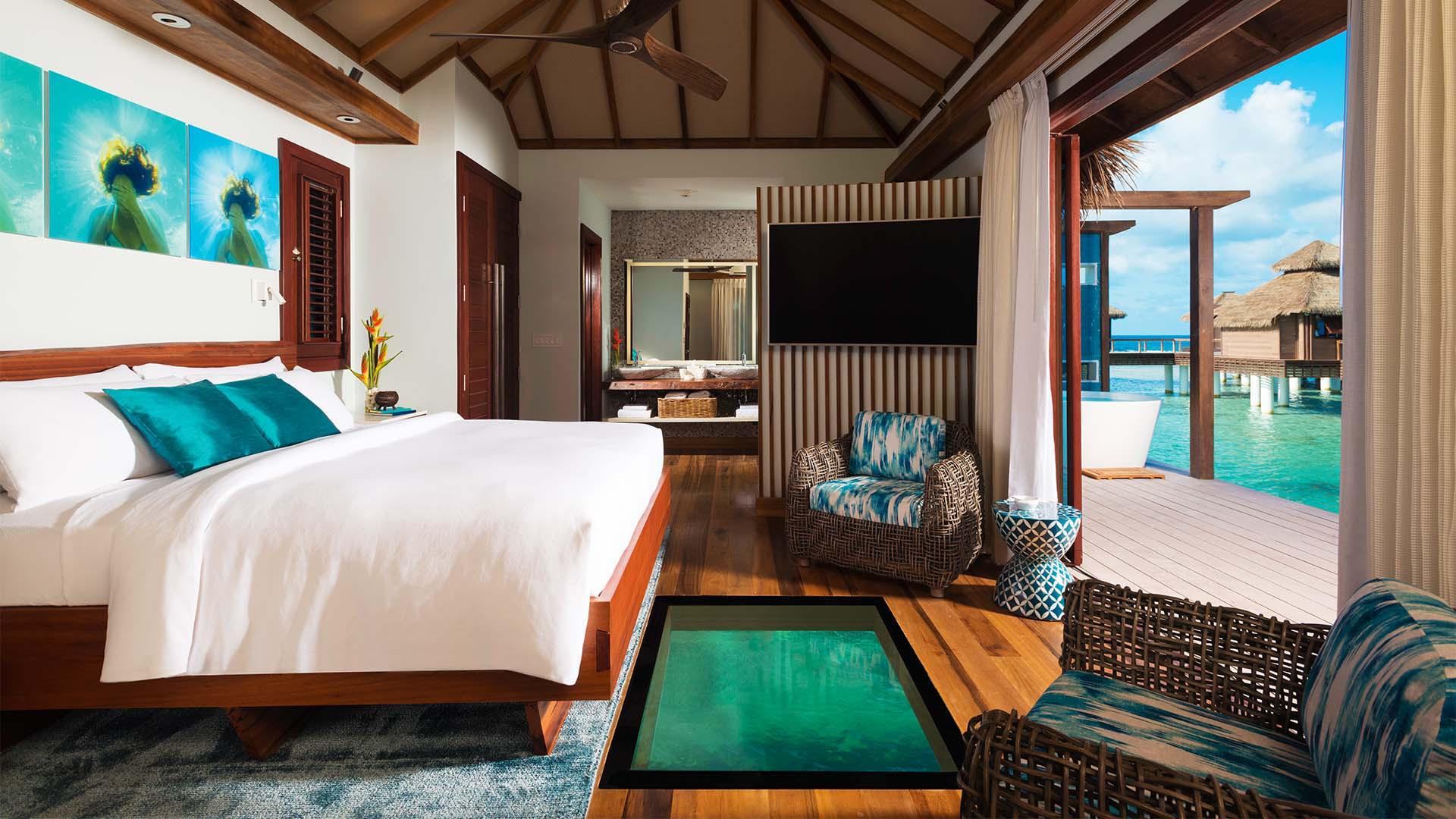 Bedroom at Sandals over water villas