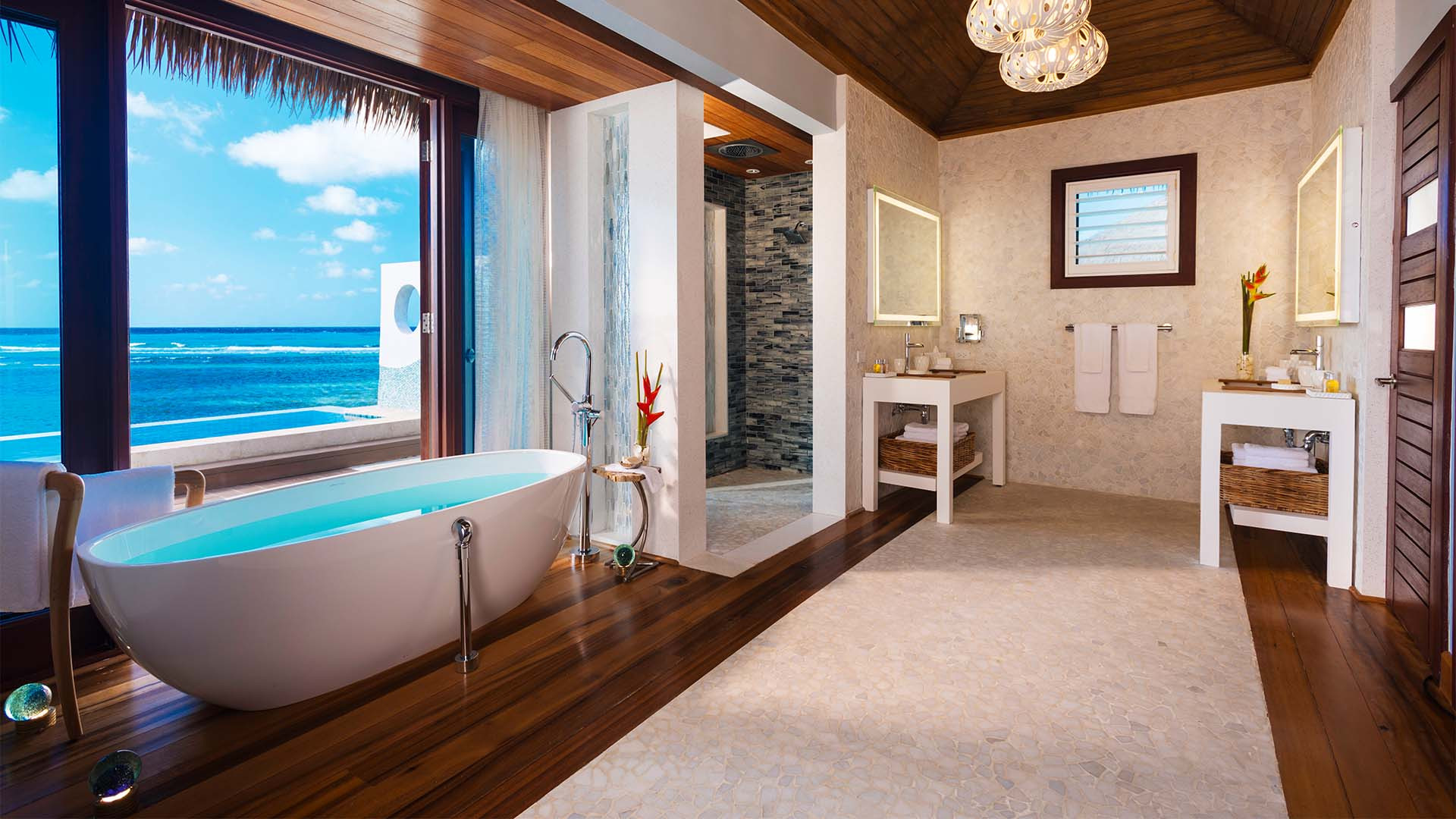Bathroom at Sandals over the water villas