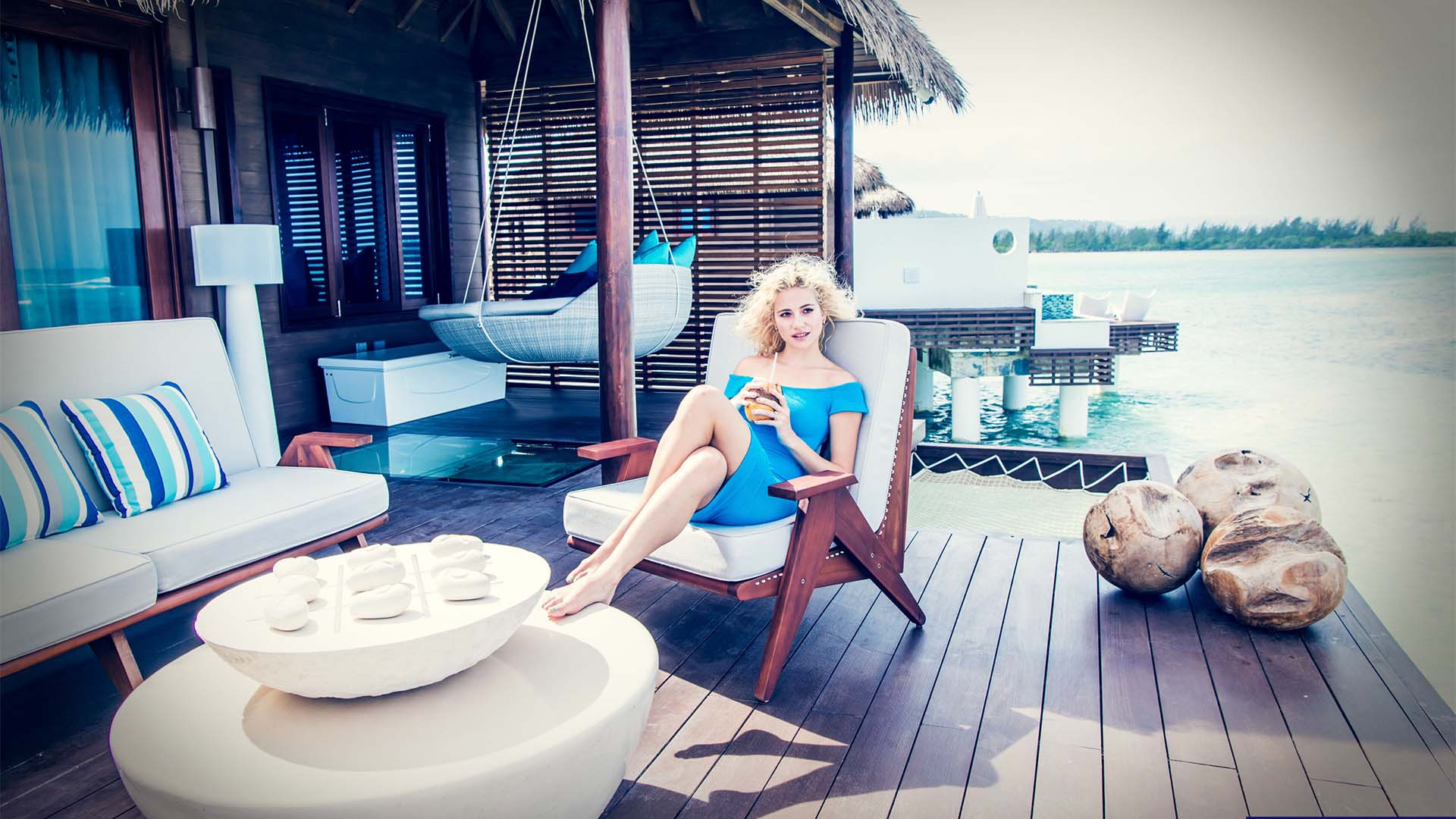 Pixie Lott at Sandals Royal Caribbean's new over-the-water suites
