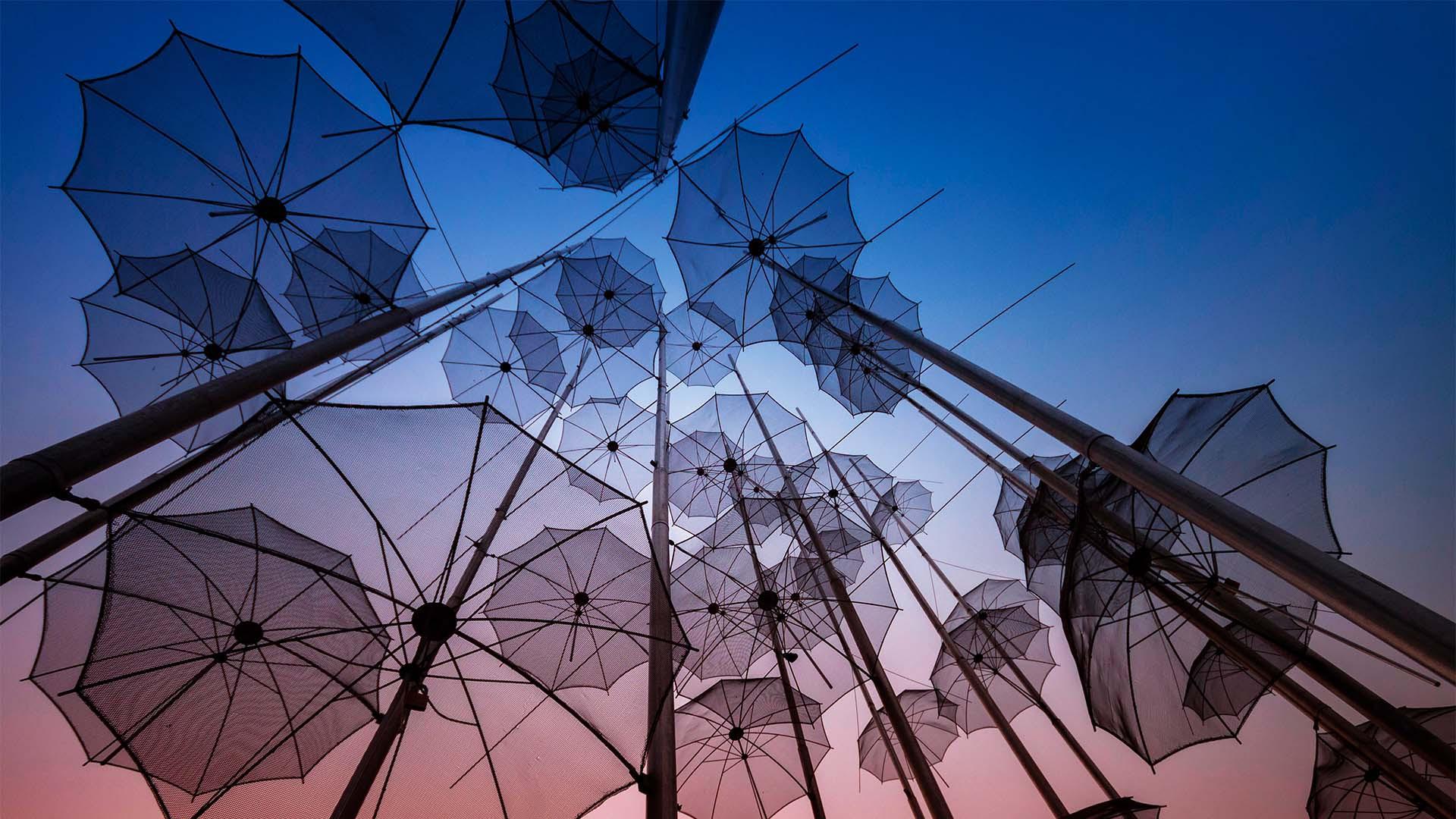 The famous umbrellas of Thessaloniki, Greece