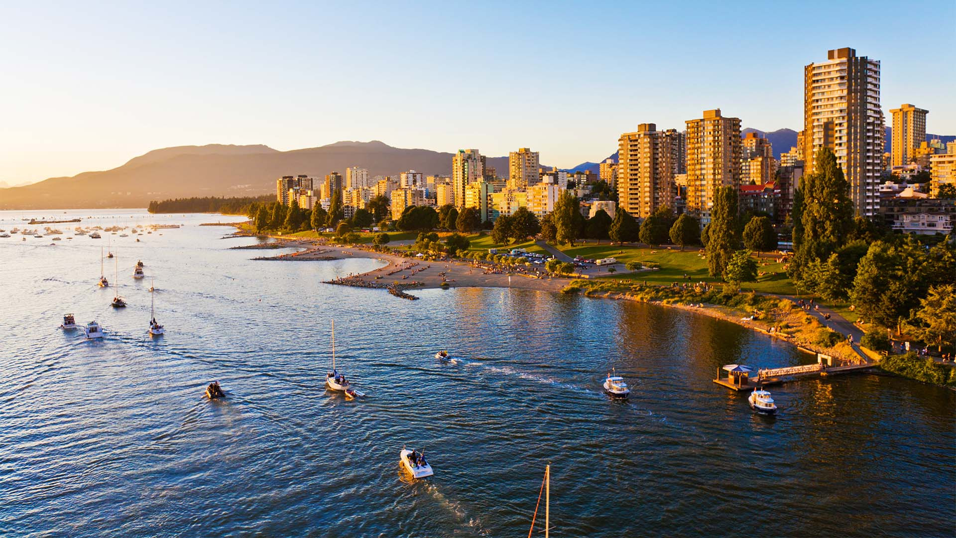 Beach and city view in Vancouver, Canada