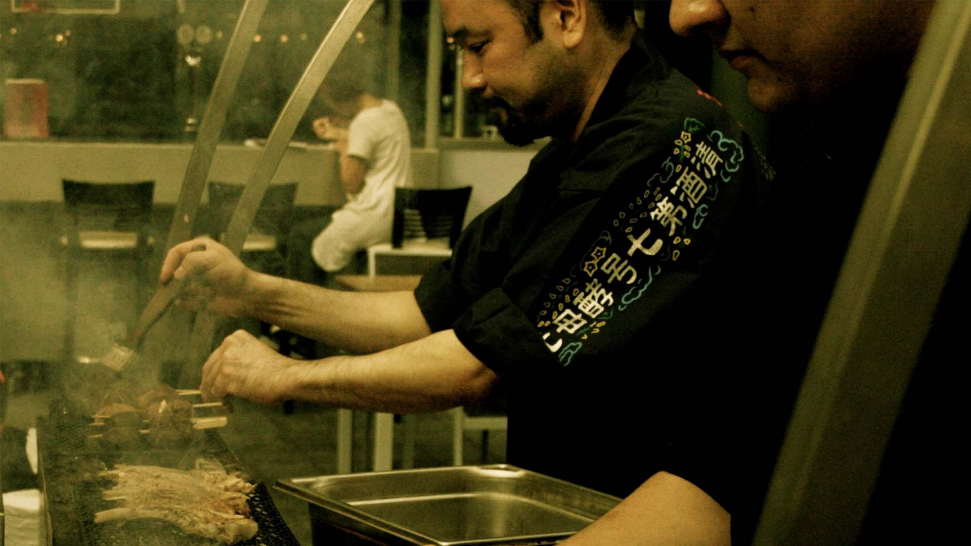 Chefs cooking at Bincho Yakitori, Brighton