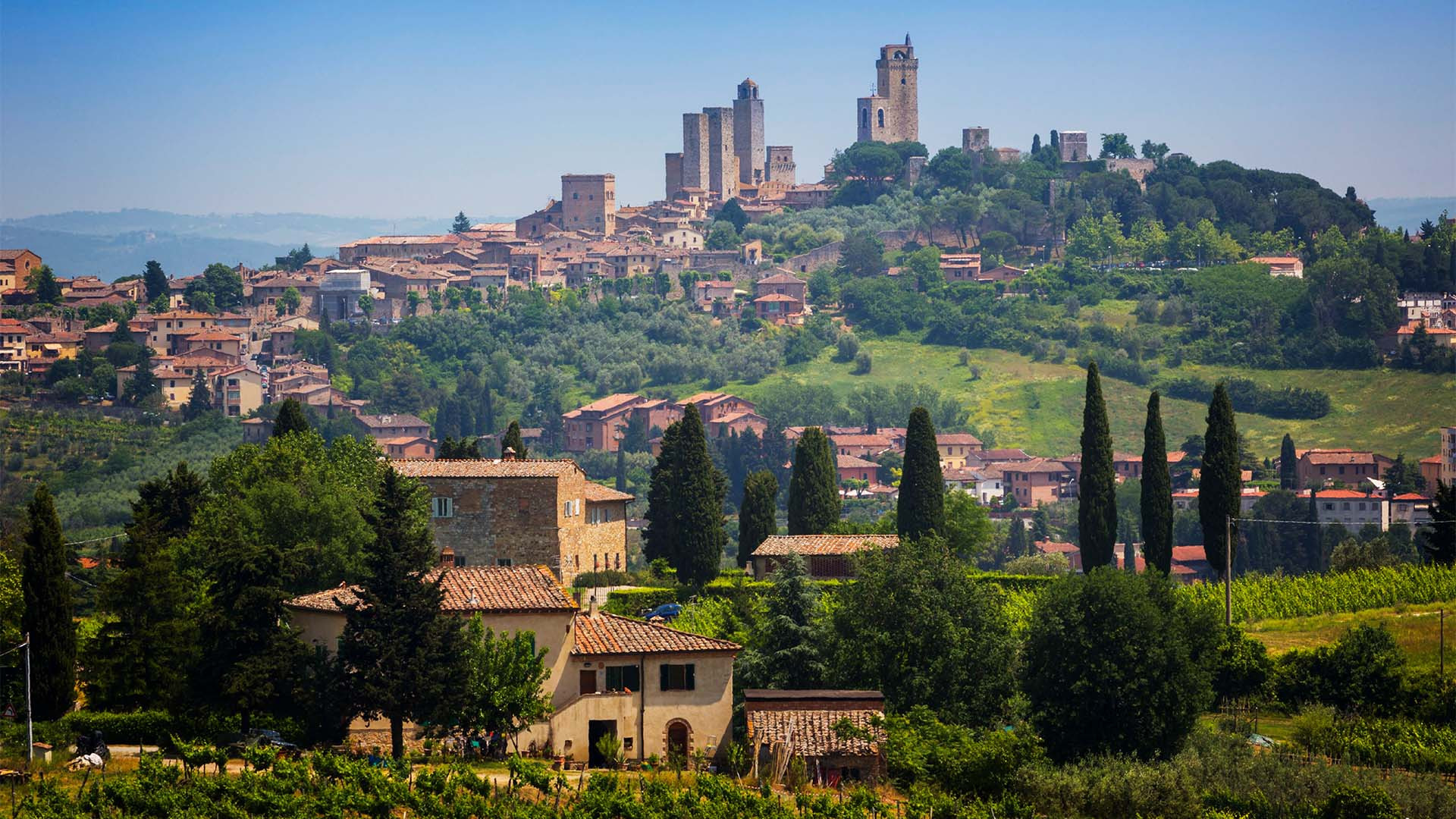 View of Siena, Italy from the Tuscan countryside