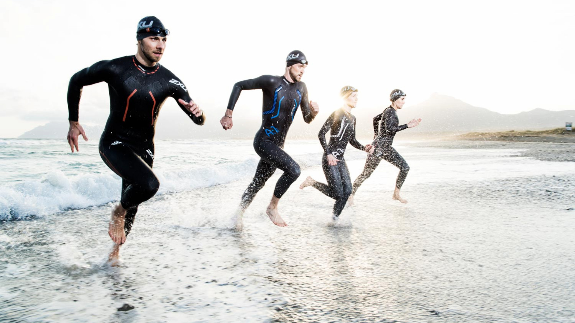 Triathletes in 2XU compression clothing