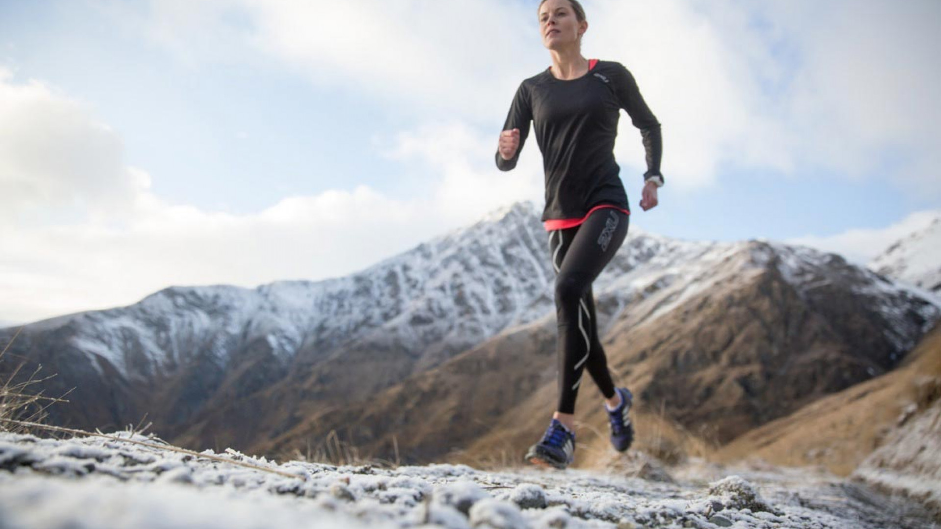 Trail runner in 2XU compression garments