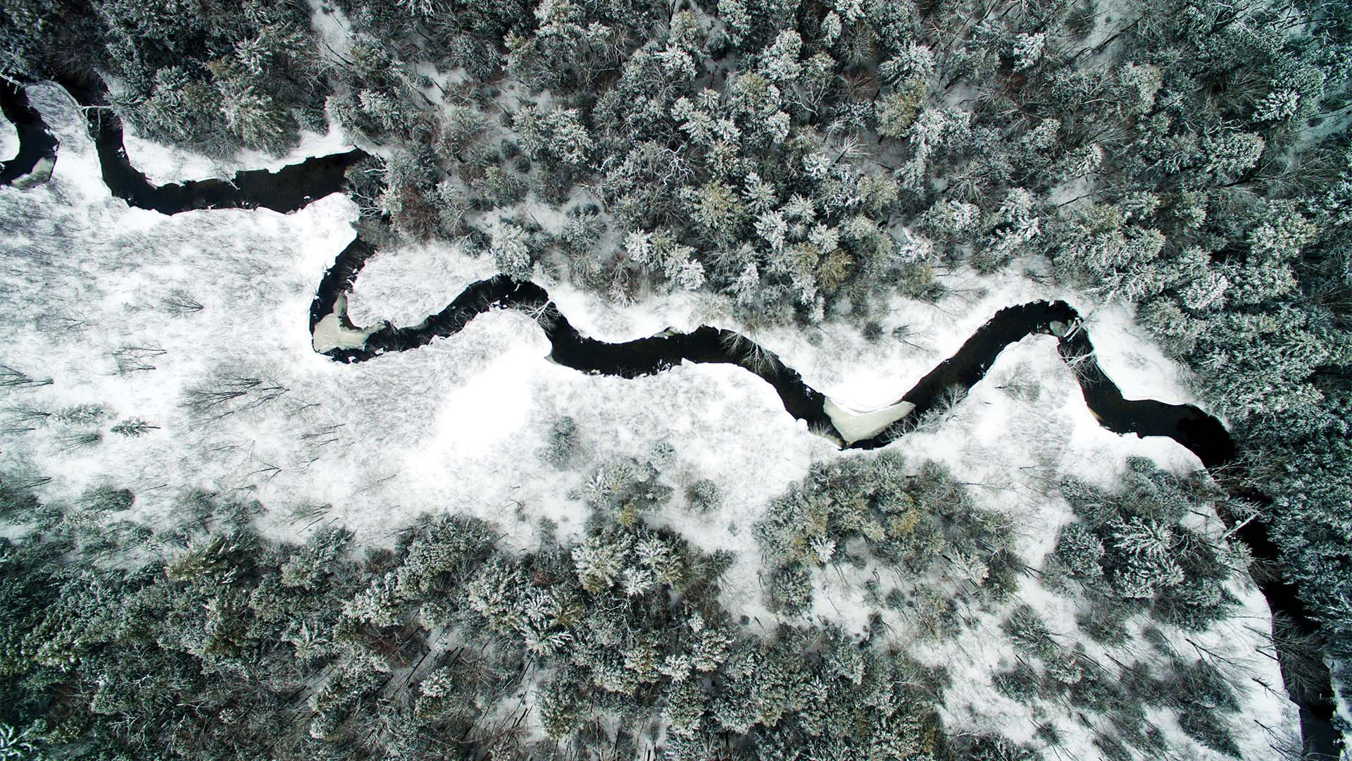 Winter river in upstate New York from Drone Photography Masterclass