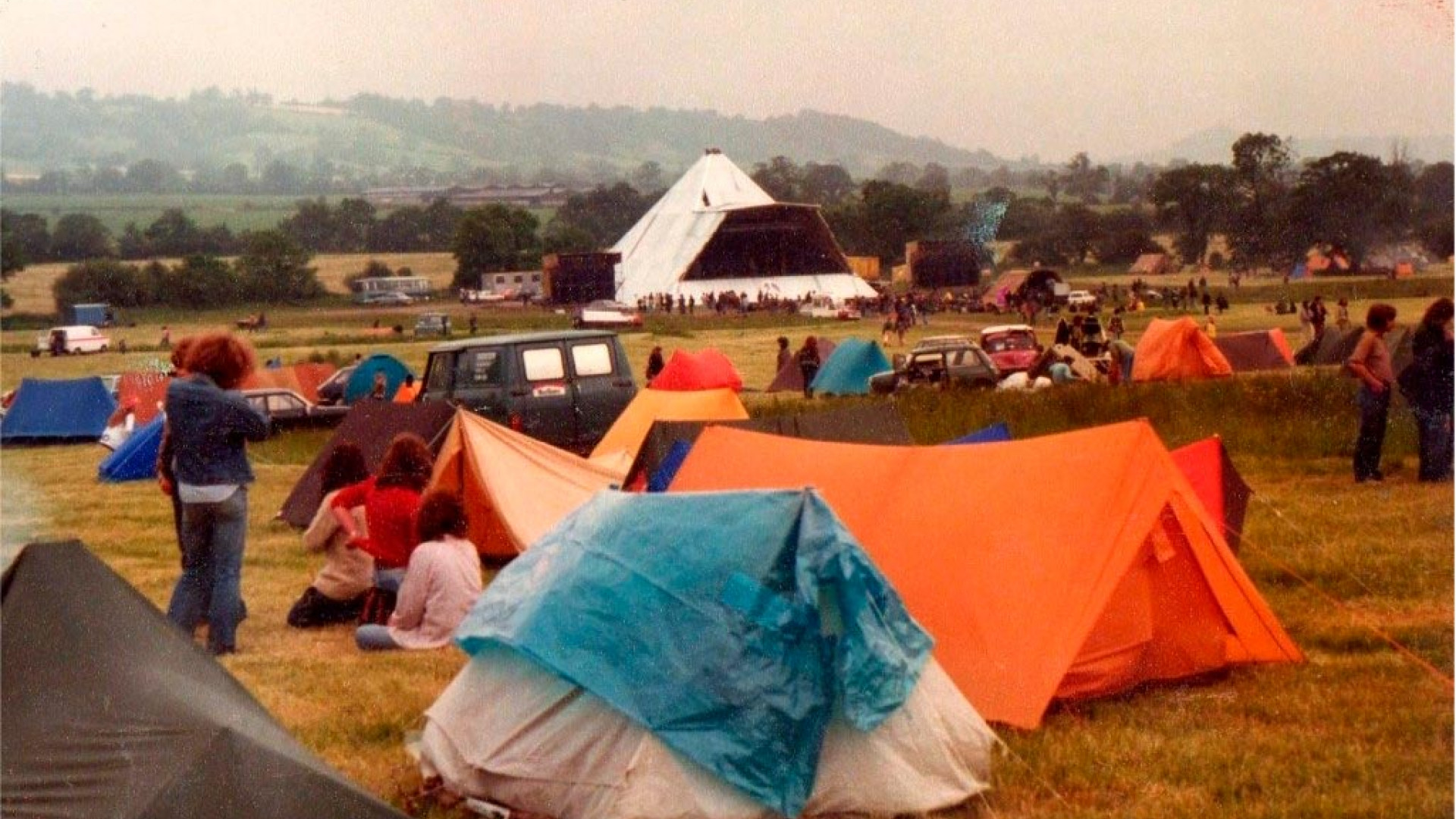 View of the Pyramid Stage at Glastonbury, 1981