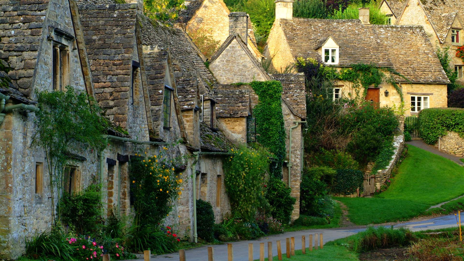 Arilington Row, Bibury, a village near Cirencester in the Cotswolds
