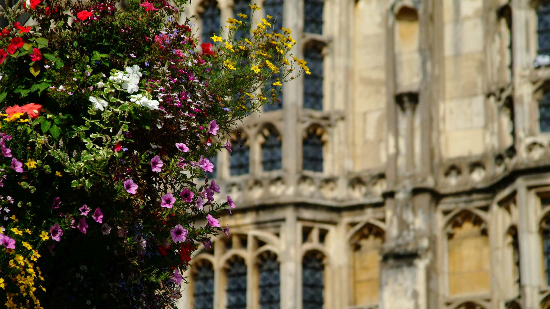 Flowers outside Cirencester's parish church, the Cotswolds