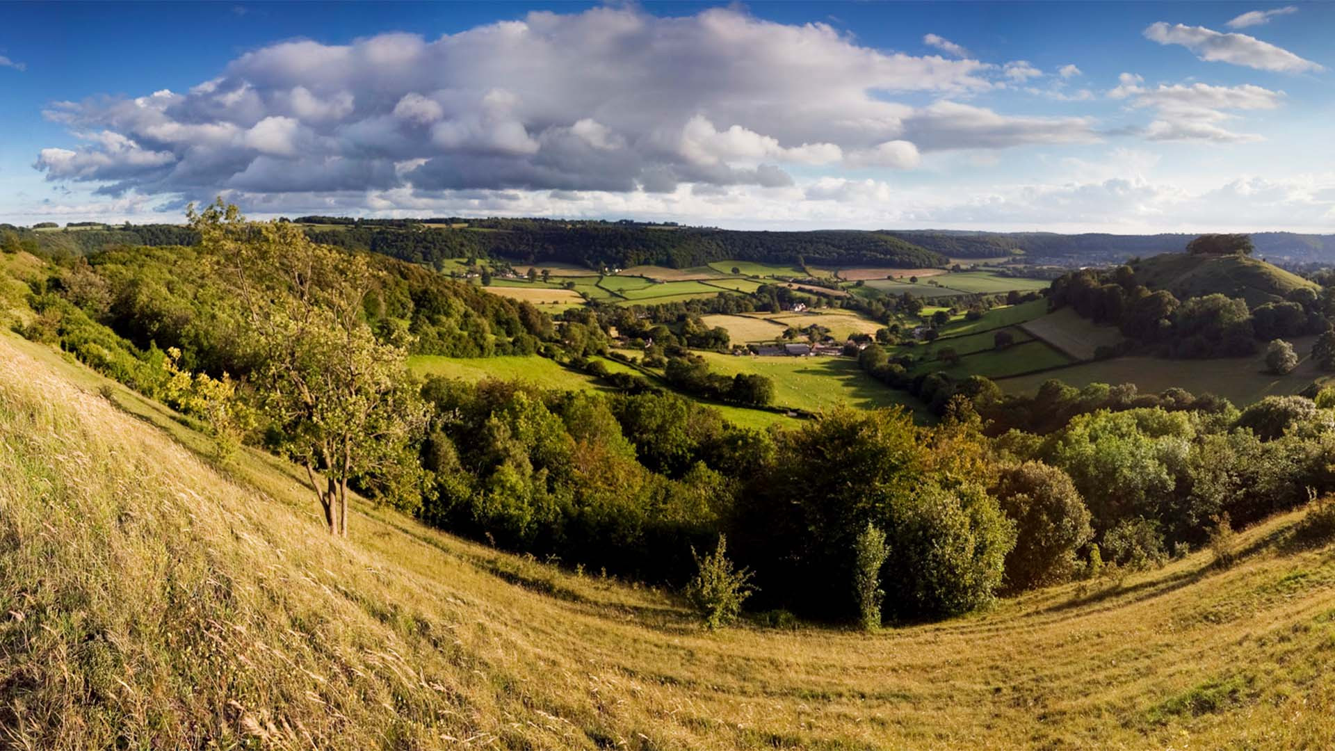View from the edge of the Stroud valleys in the Cotswolds
