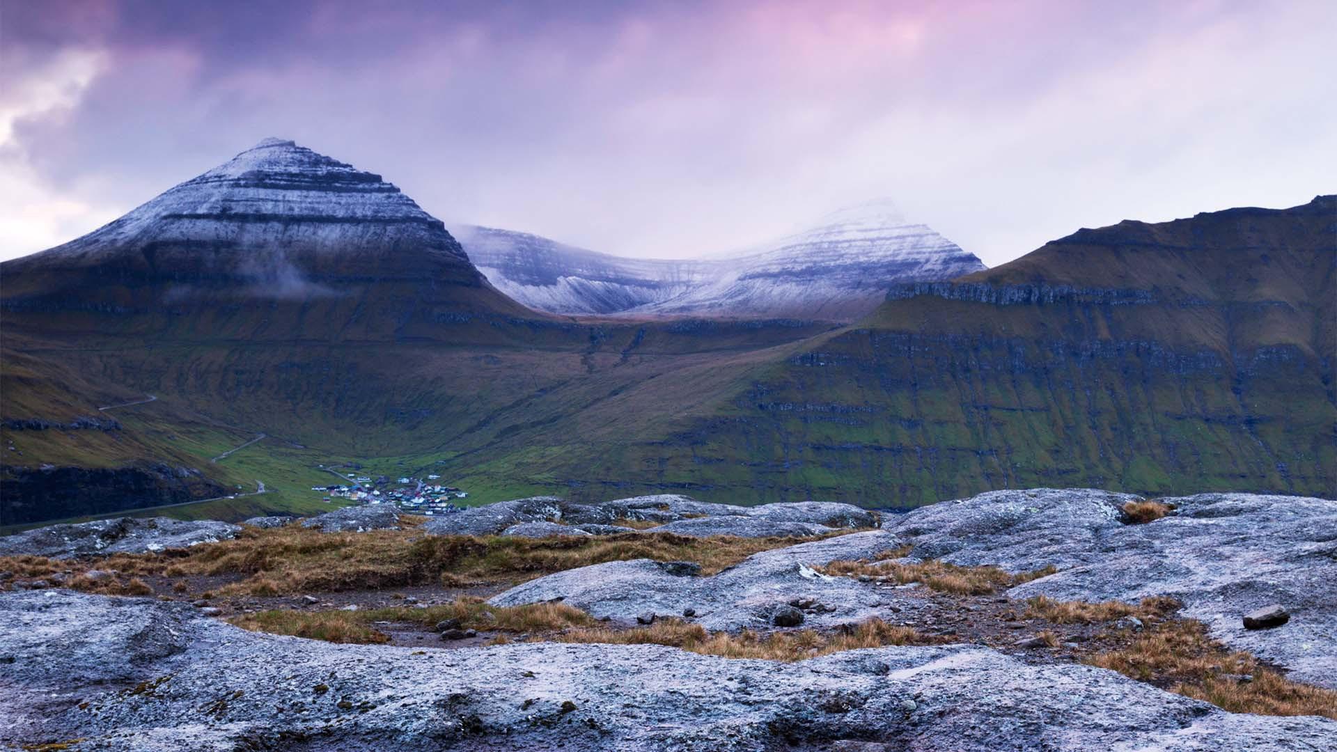Mountain landscapes in the Faroe Islands