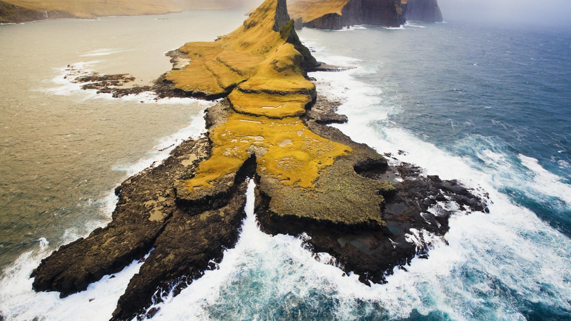 Dramatic aerial photo of landscape in the Faroe Islands