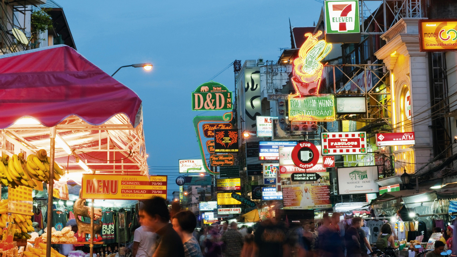 Khao San Road, one of Bangkok's busiest tourist areas