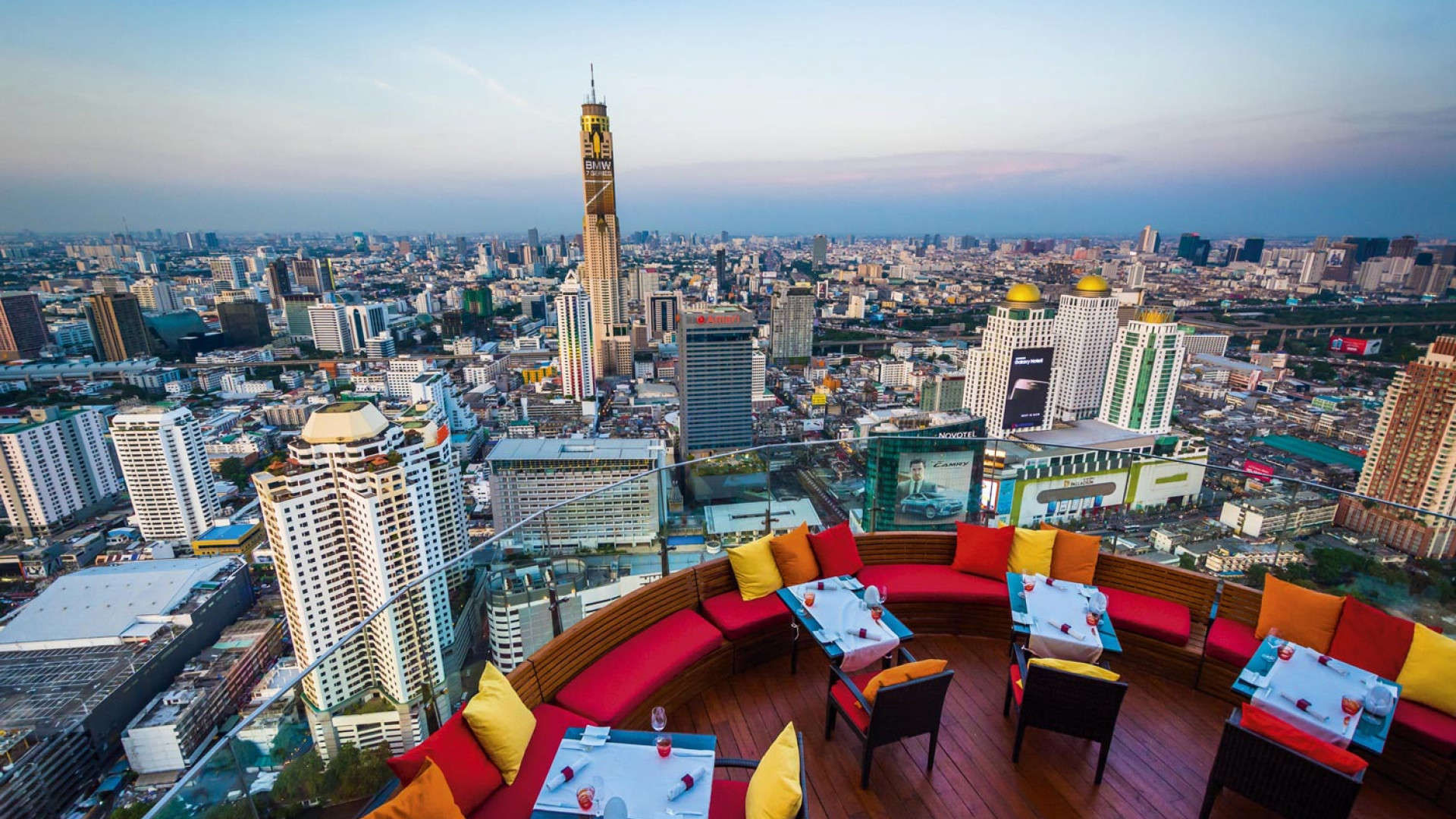 Rooftop bar overlooking the Bangkok skyline in Thailand