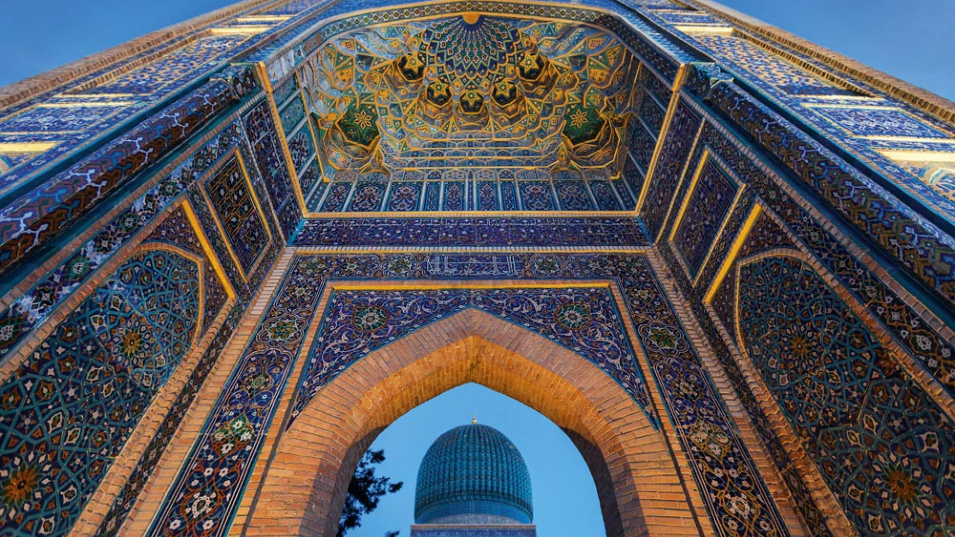Monumental gate of the mausoleum of Tamerlane in Samarkand, Uzbekistan