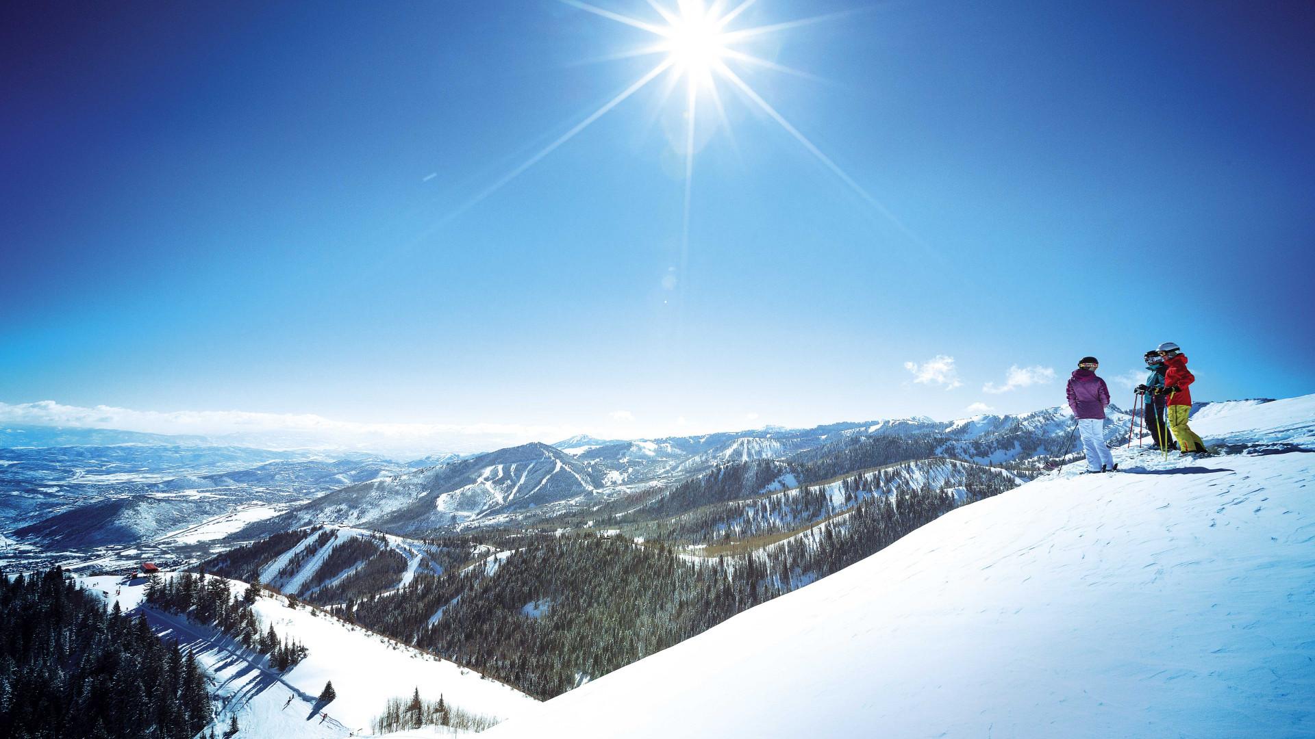 Skiiers in Park City, Utah