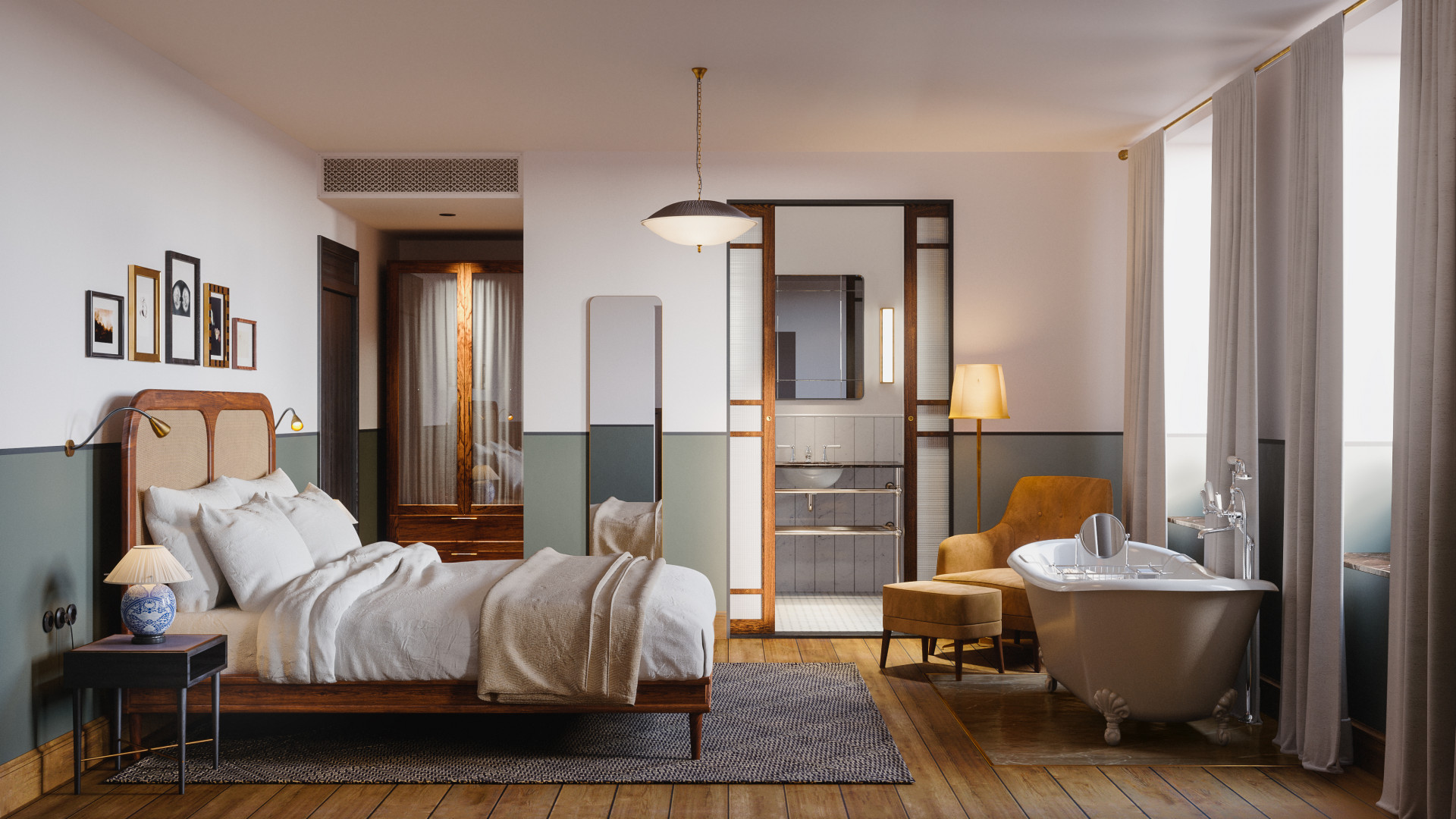 Interior of a double room at the new Sanders Hotel in Copenhagen
