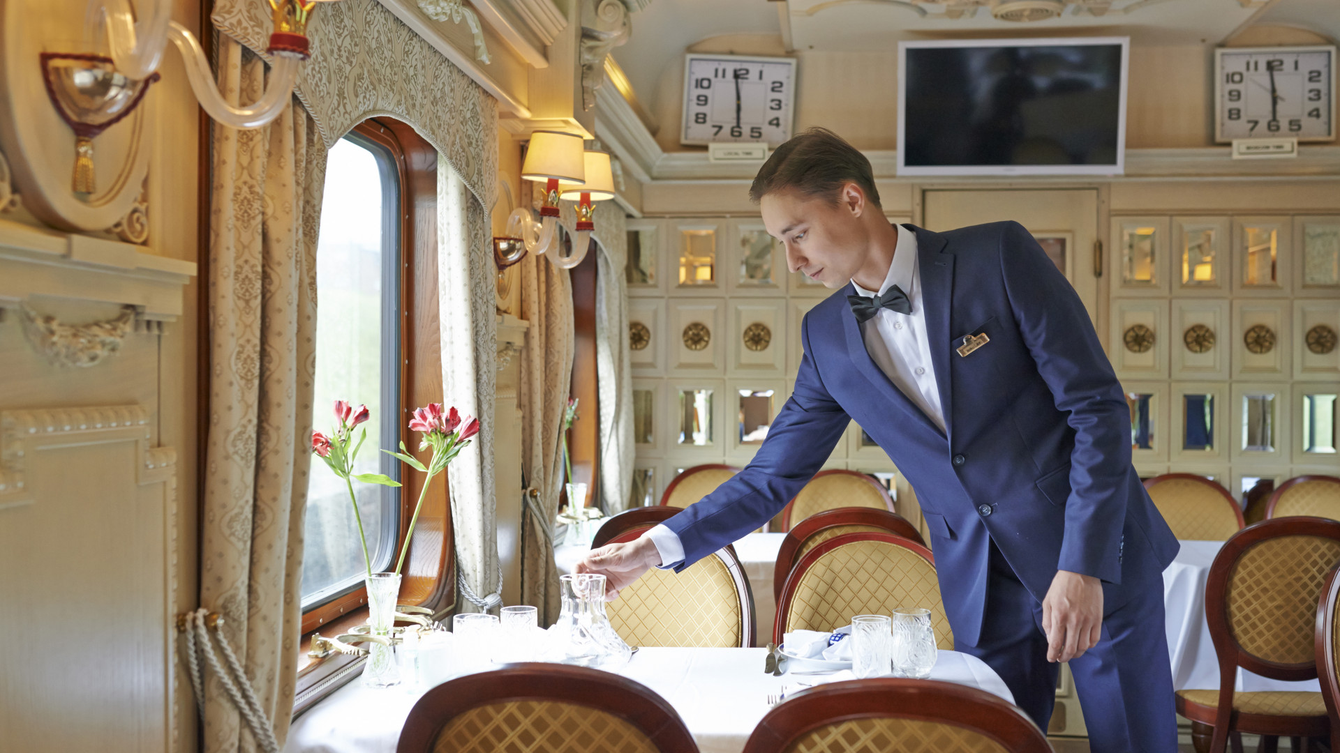 Service aboard the new Golden Eagle luxury train in Russia