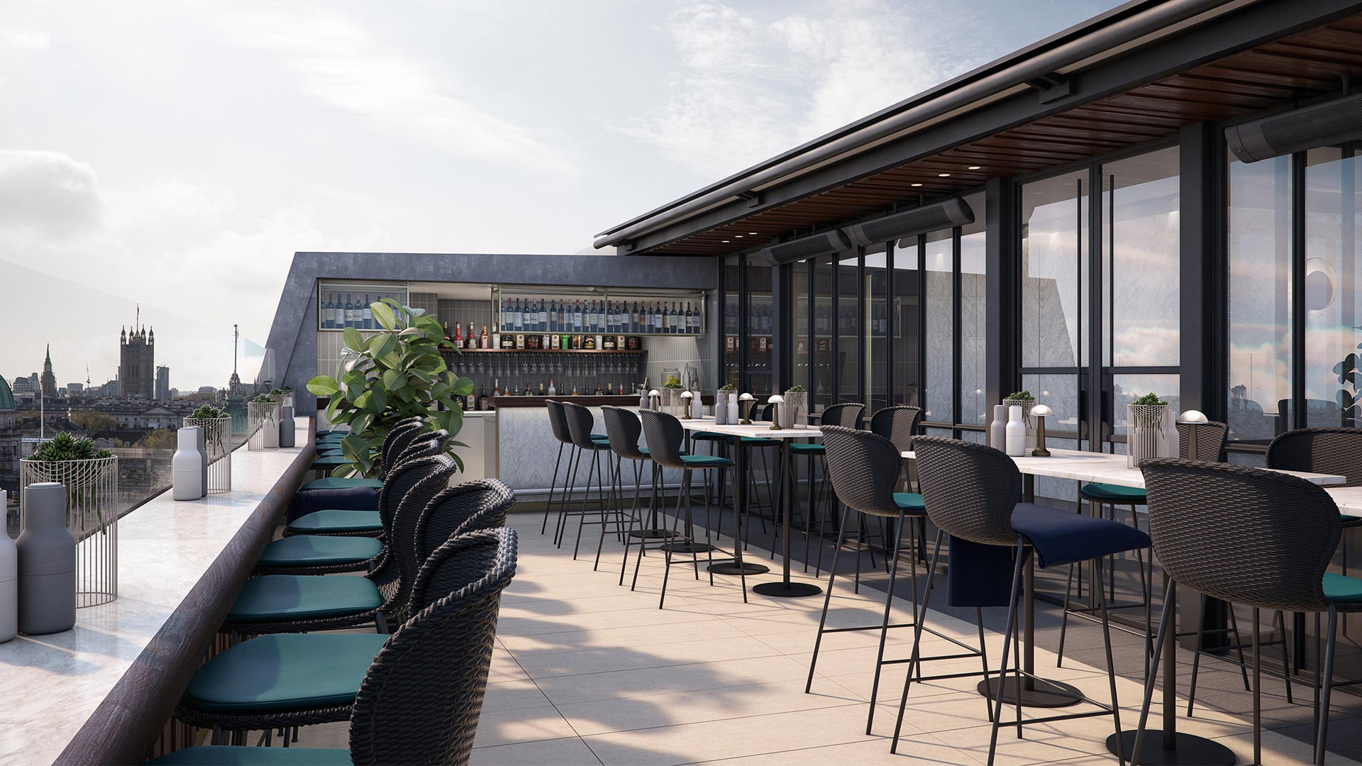 The roof terrace at the Trafalgar St James hotel in central London