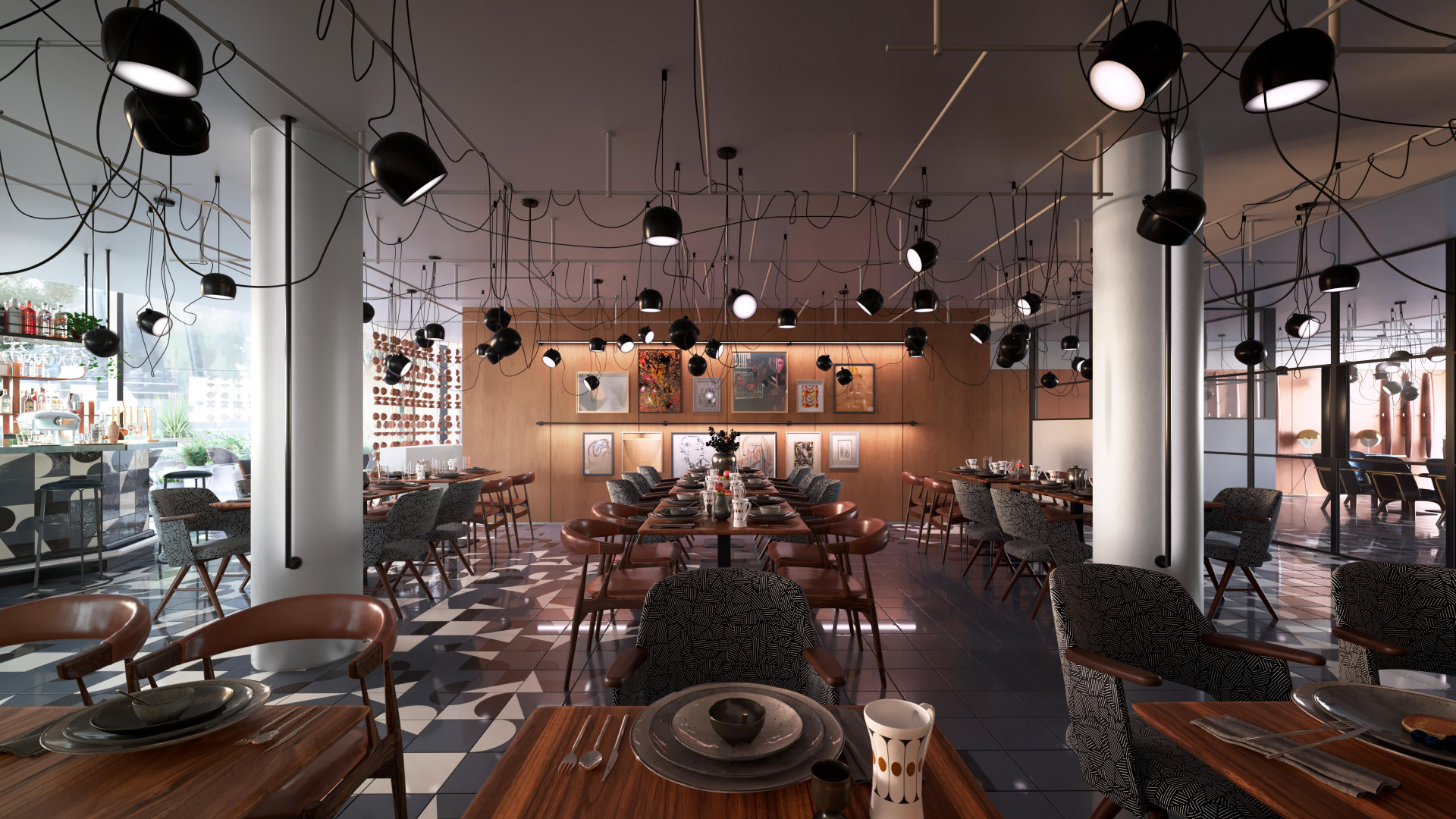 A rendering of the restaurant space at the new Bankside Hotel