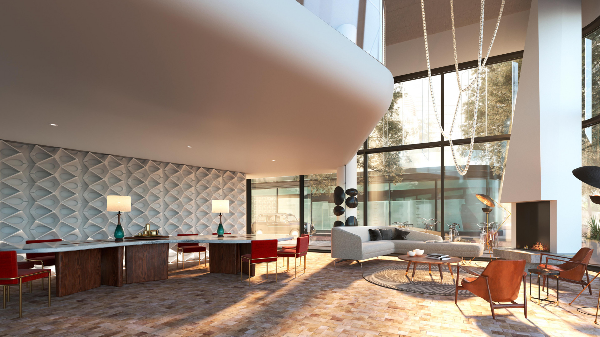 A rendering of the lobby area at the new Bankside hotel in Blackfriars