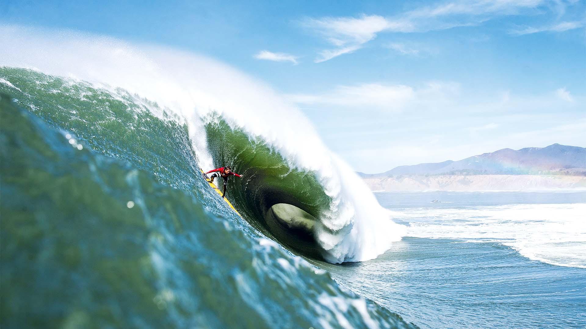 Kai Lenny surfing Mavericks in California, USA
