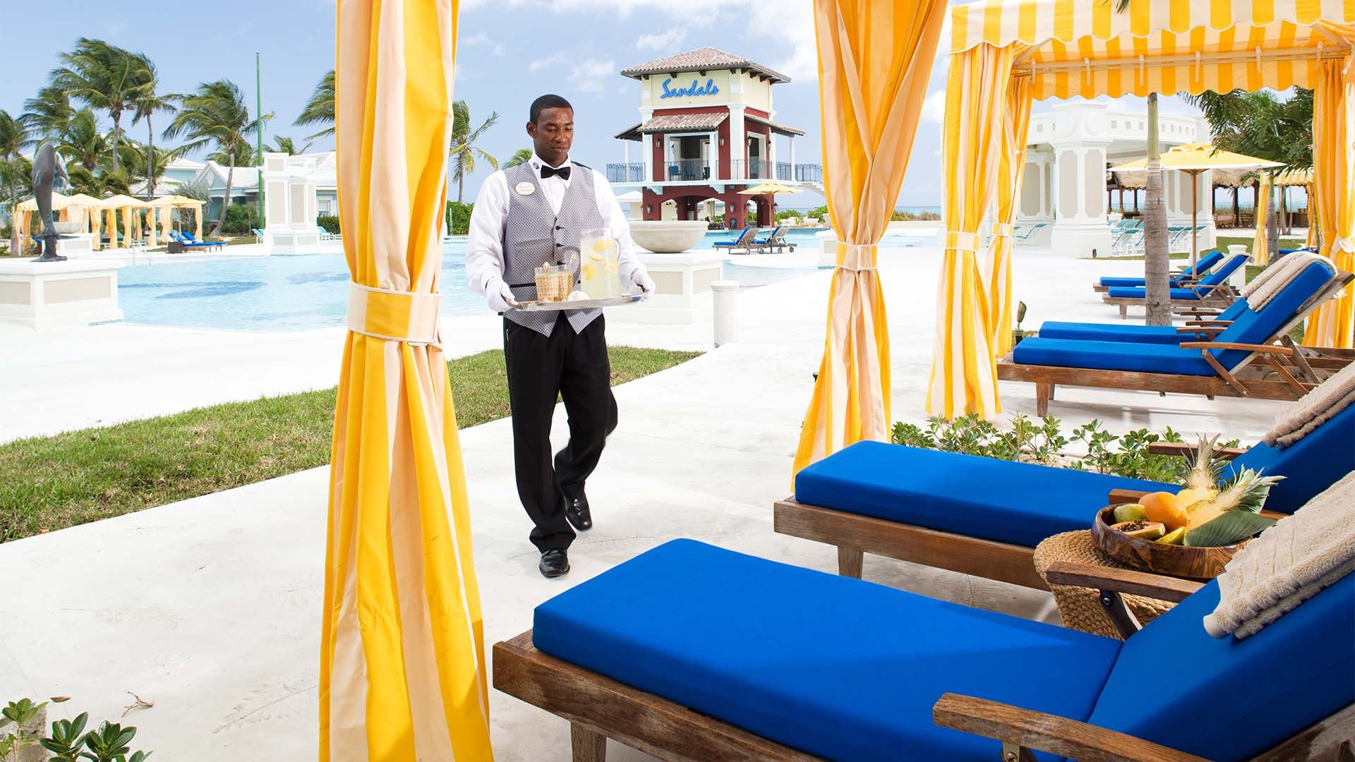 Butler service at Sandals Emerald Bay, The Bahamas