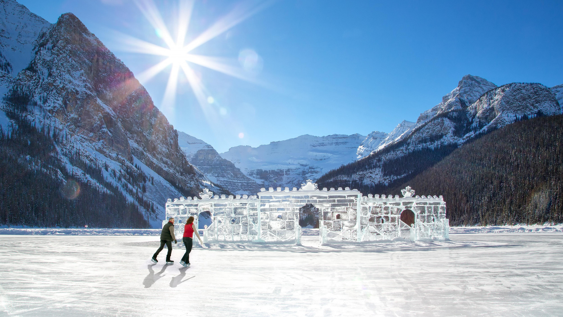 Ice skating at Fairmont Banff Springs, Canada