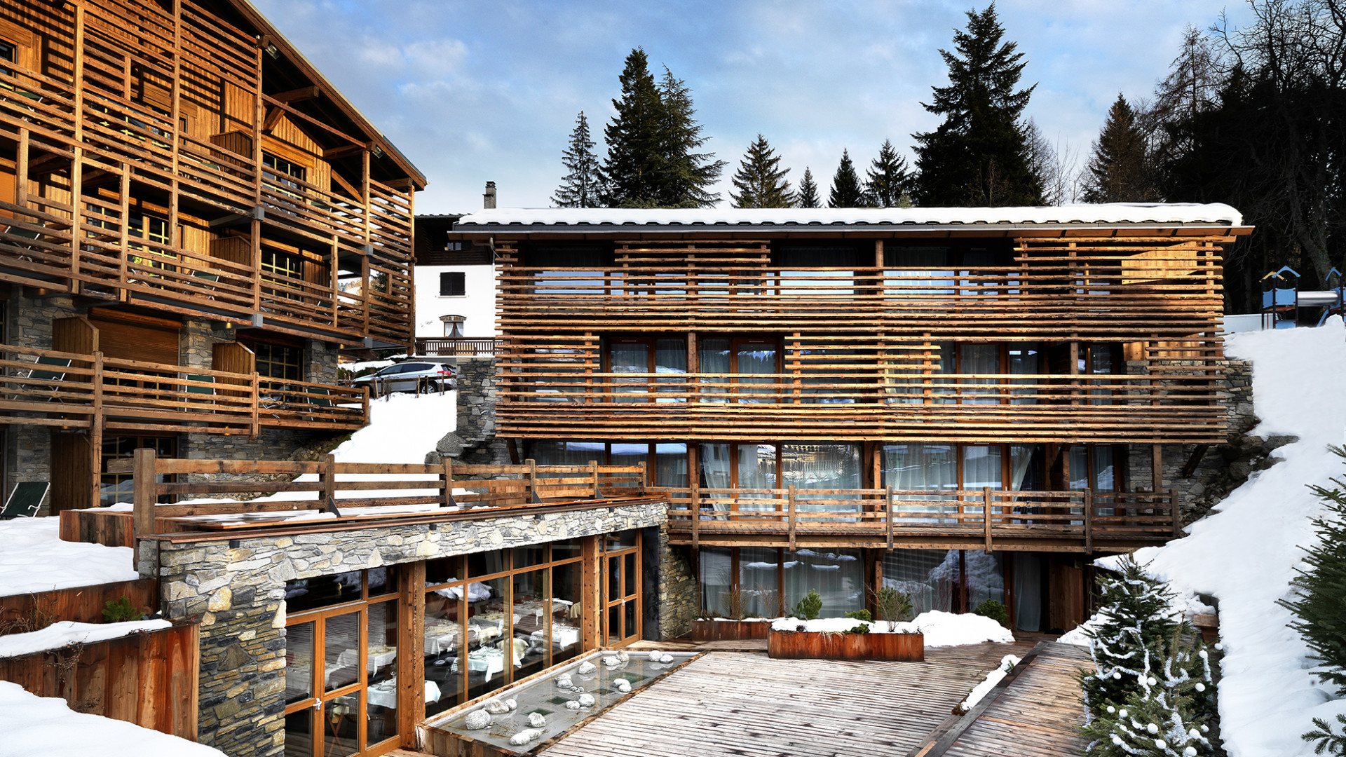 Exterior of M de Megeve, French Alps