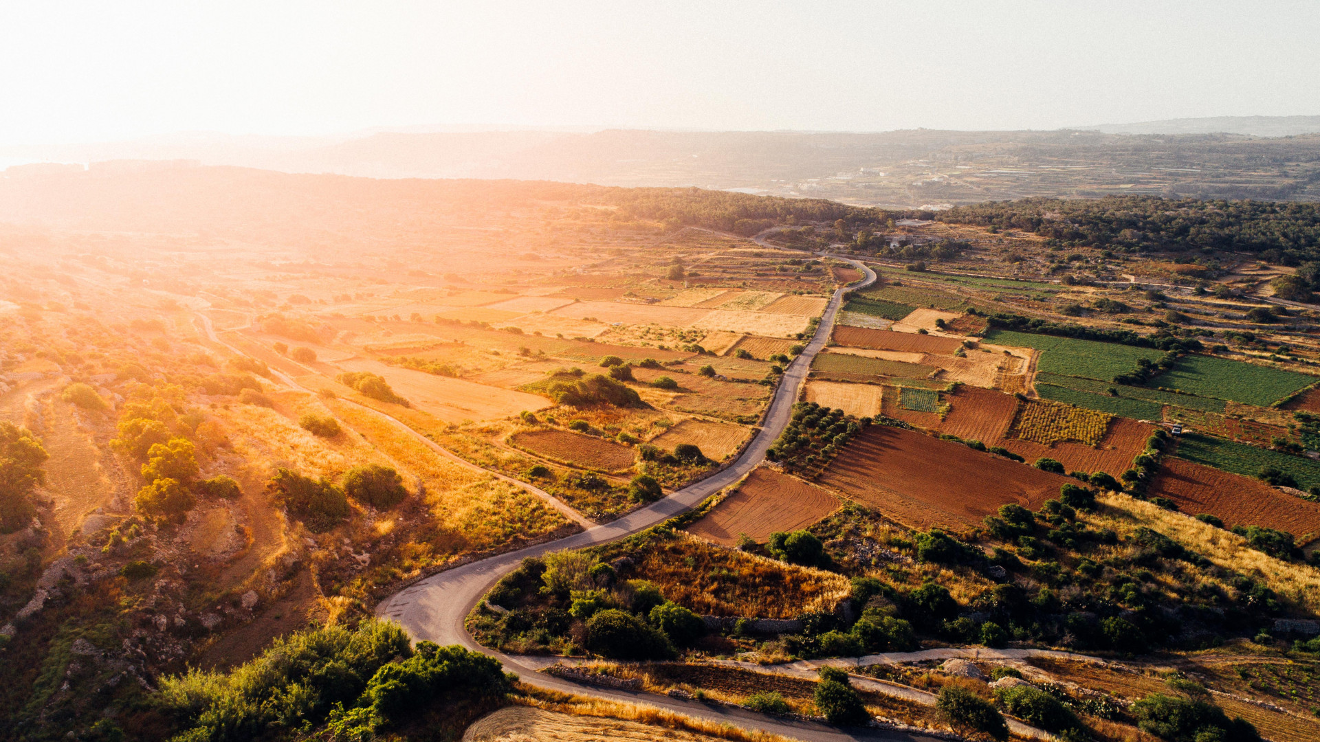 Aerial view of countryside on the island of Malta