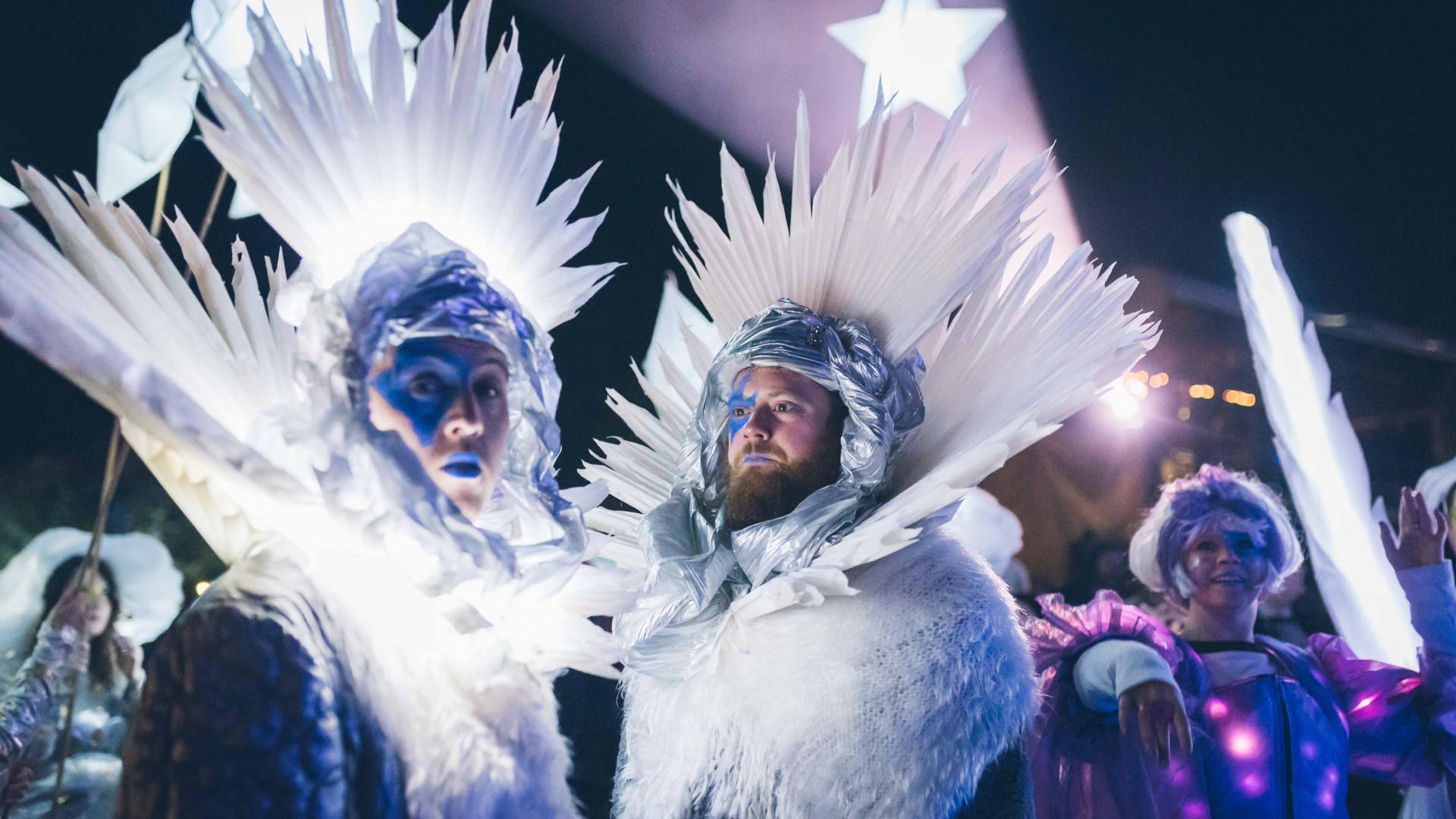 An illuminated procession at Festival No.6 2017
