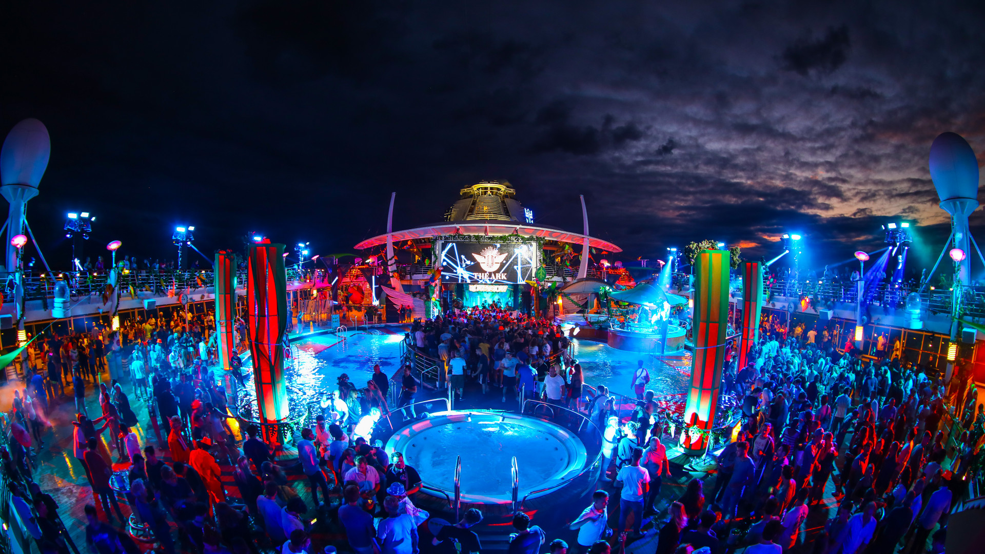 Dancing on the top-deck of The Ark festival cruise ship