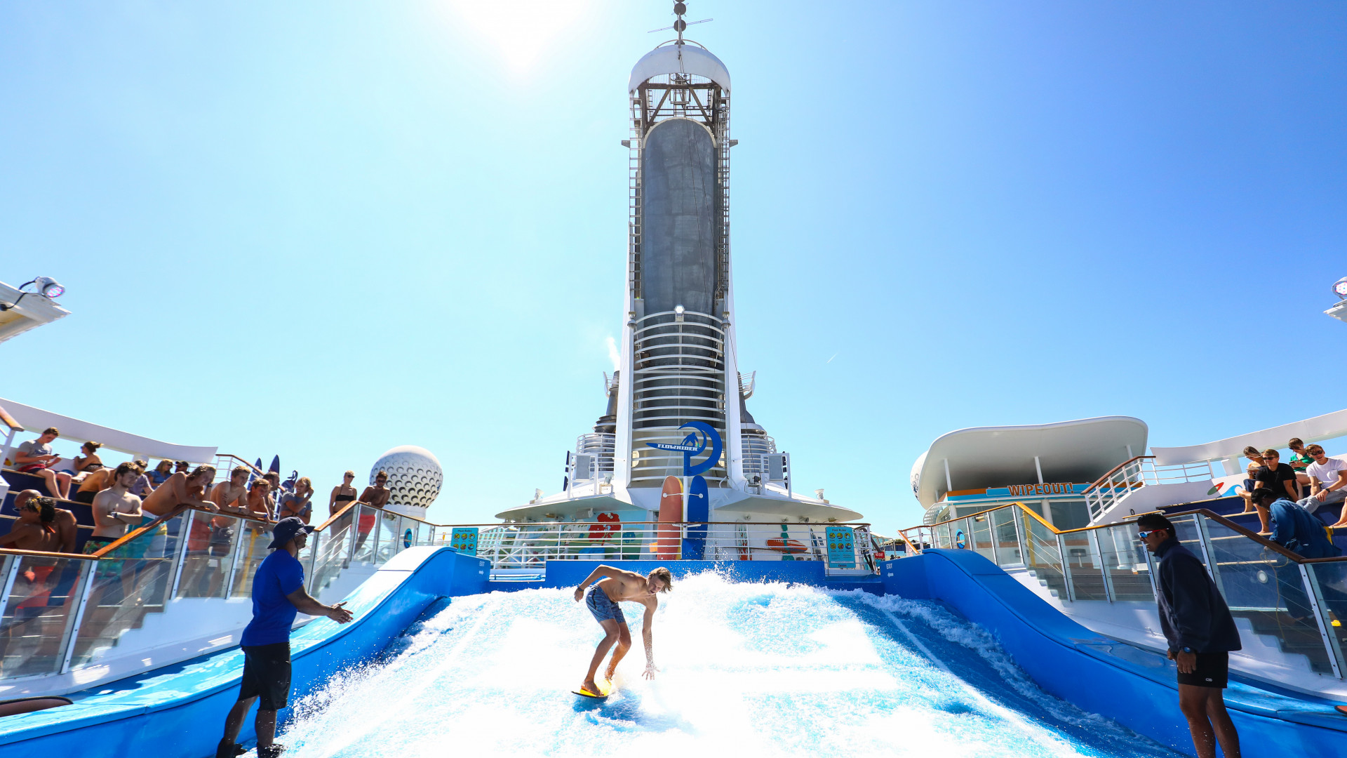 Surfing at Ark cruise festival in the Mediterranean