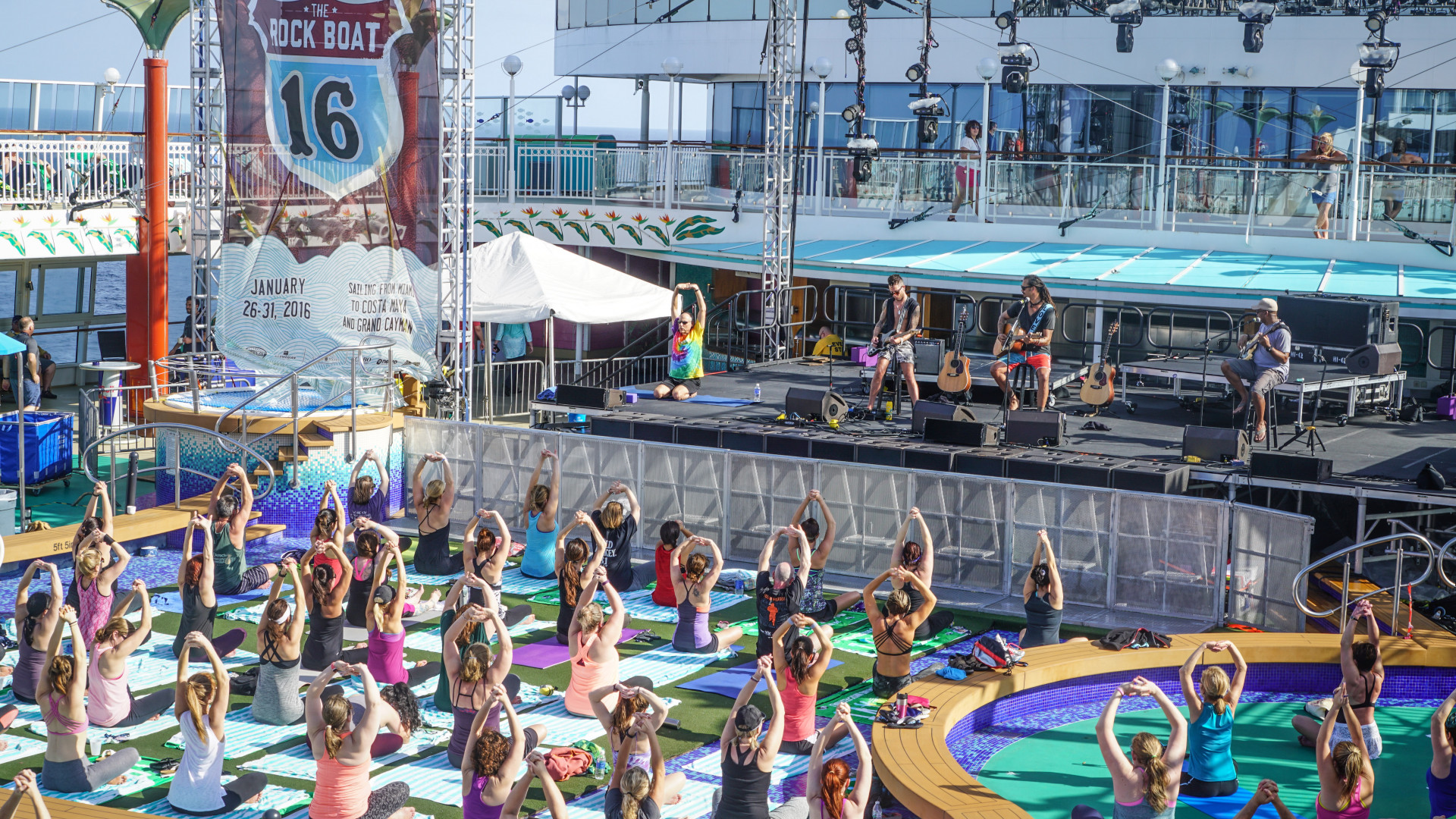 Yoga sessions at The Rock Boat music festival