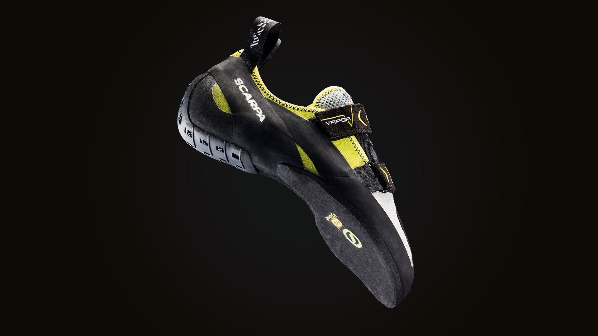 The Scarpa Vapour V climbing shoe, perfect for indoor bouldering and comfortable outdoor climbs