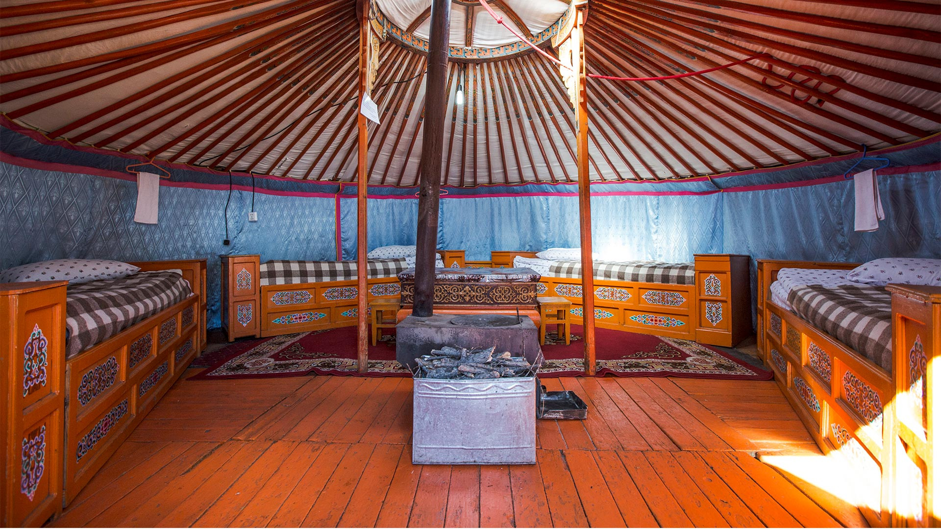 Yurt interior at G Adventures' nomadic life tour of Mongolia