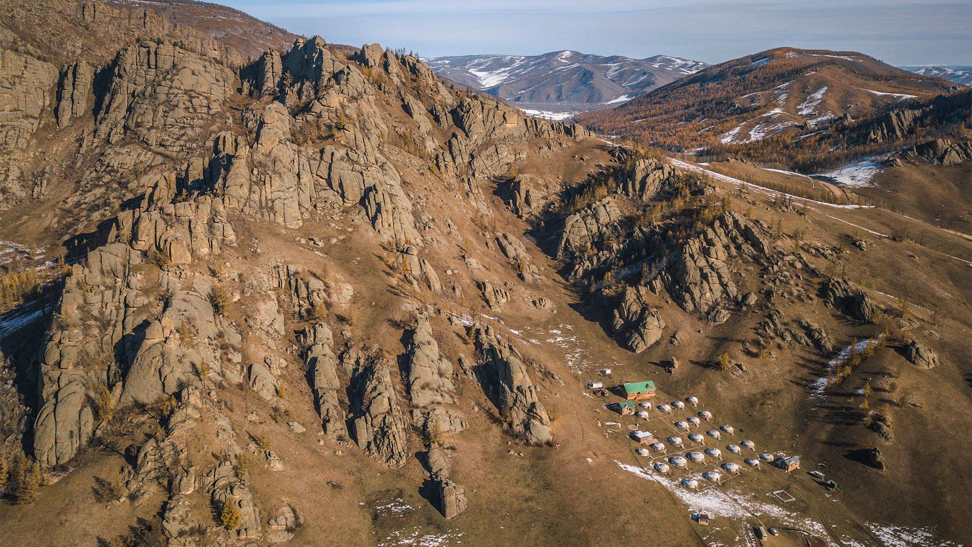 Village of yurts on G Adventures nomadic life tour