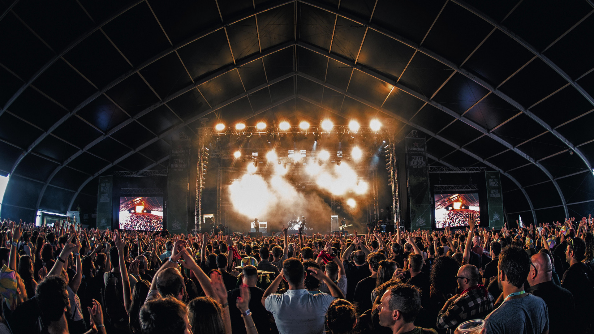 Crowds at NOS Alive music festival in Lisbon, Portugal