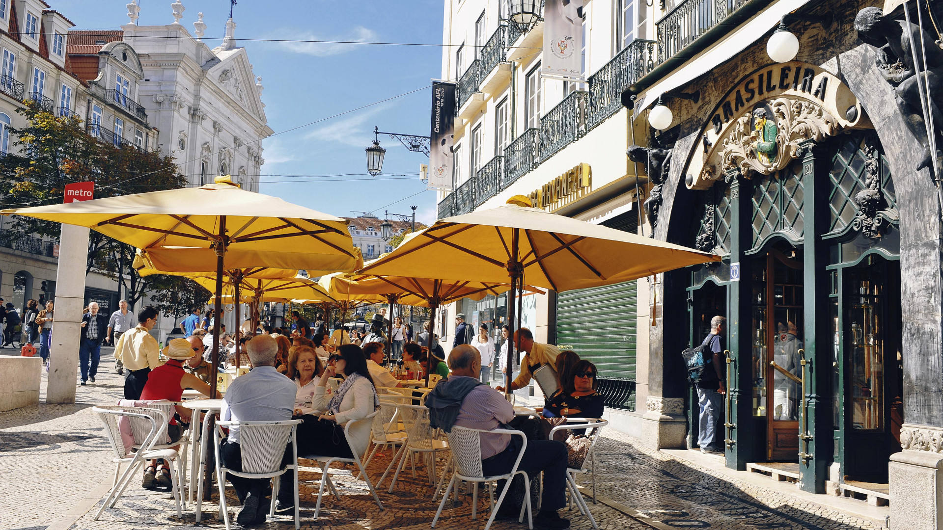 People eating al fresco in Lisbon's Chiado district