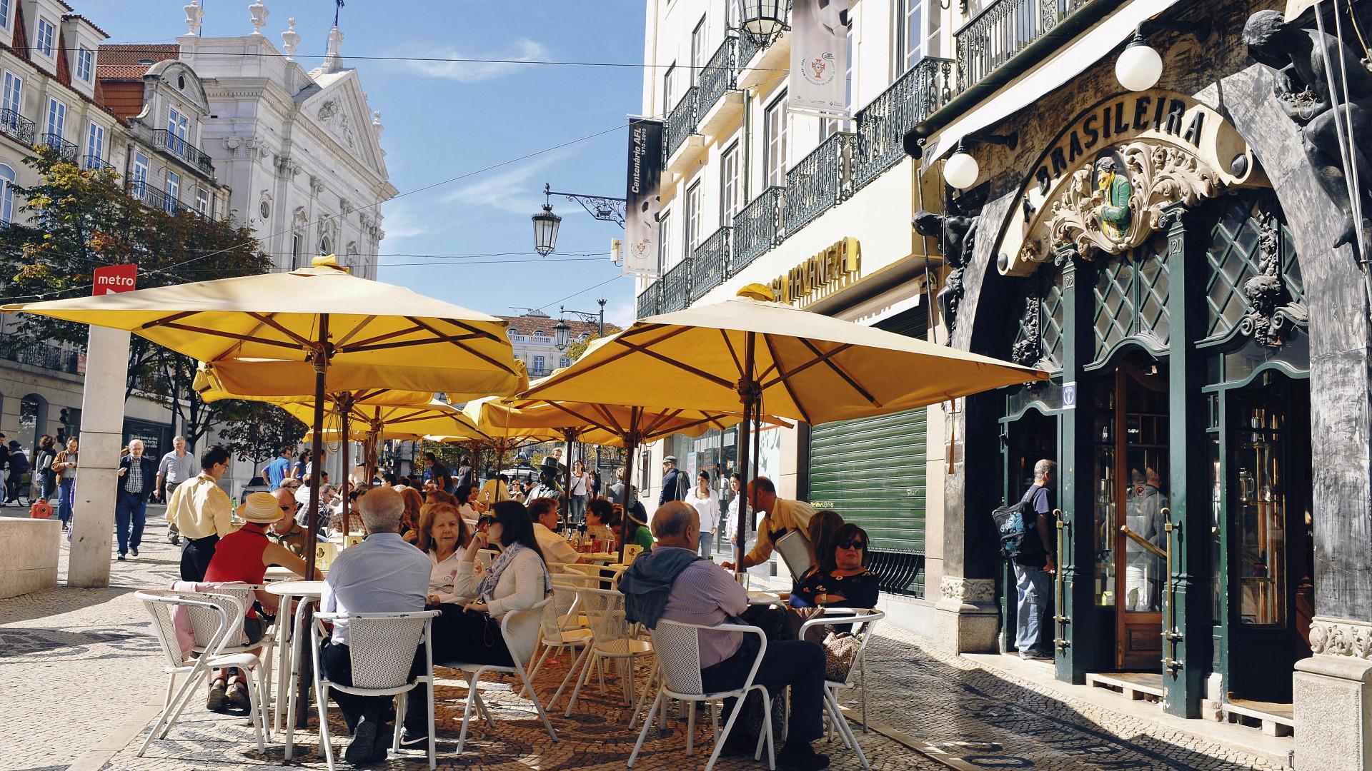 People eating al fresco in Lisbon's Chiado district